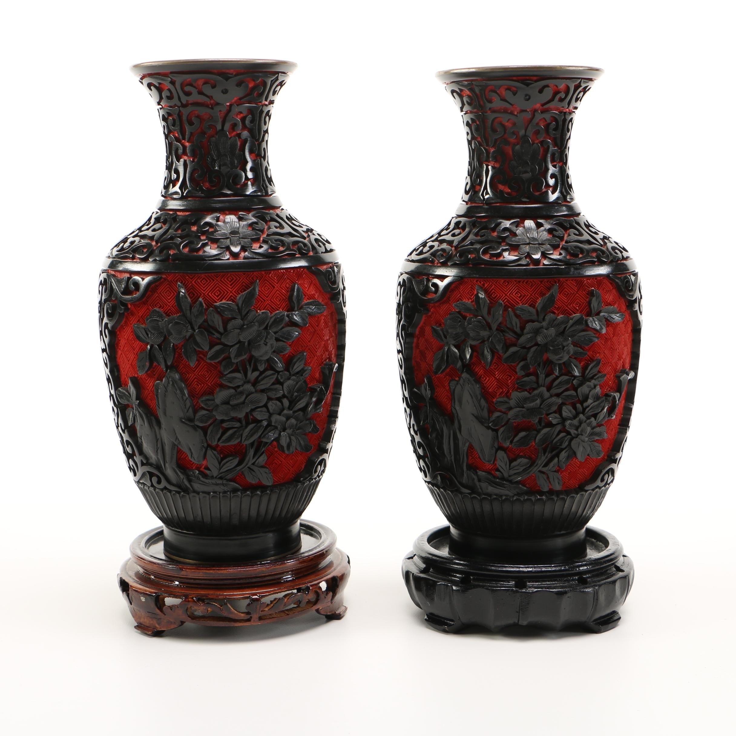 Two Asian Style Brass and Wood Cinnabar Vases