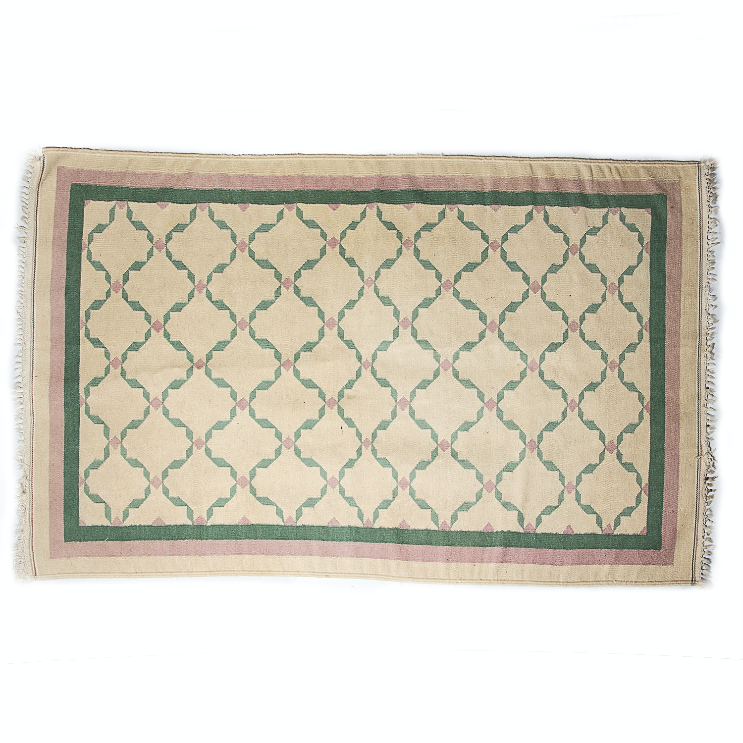 Woven Southwestern Wool Area Rug in Cream, Pink and Turquoise