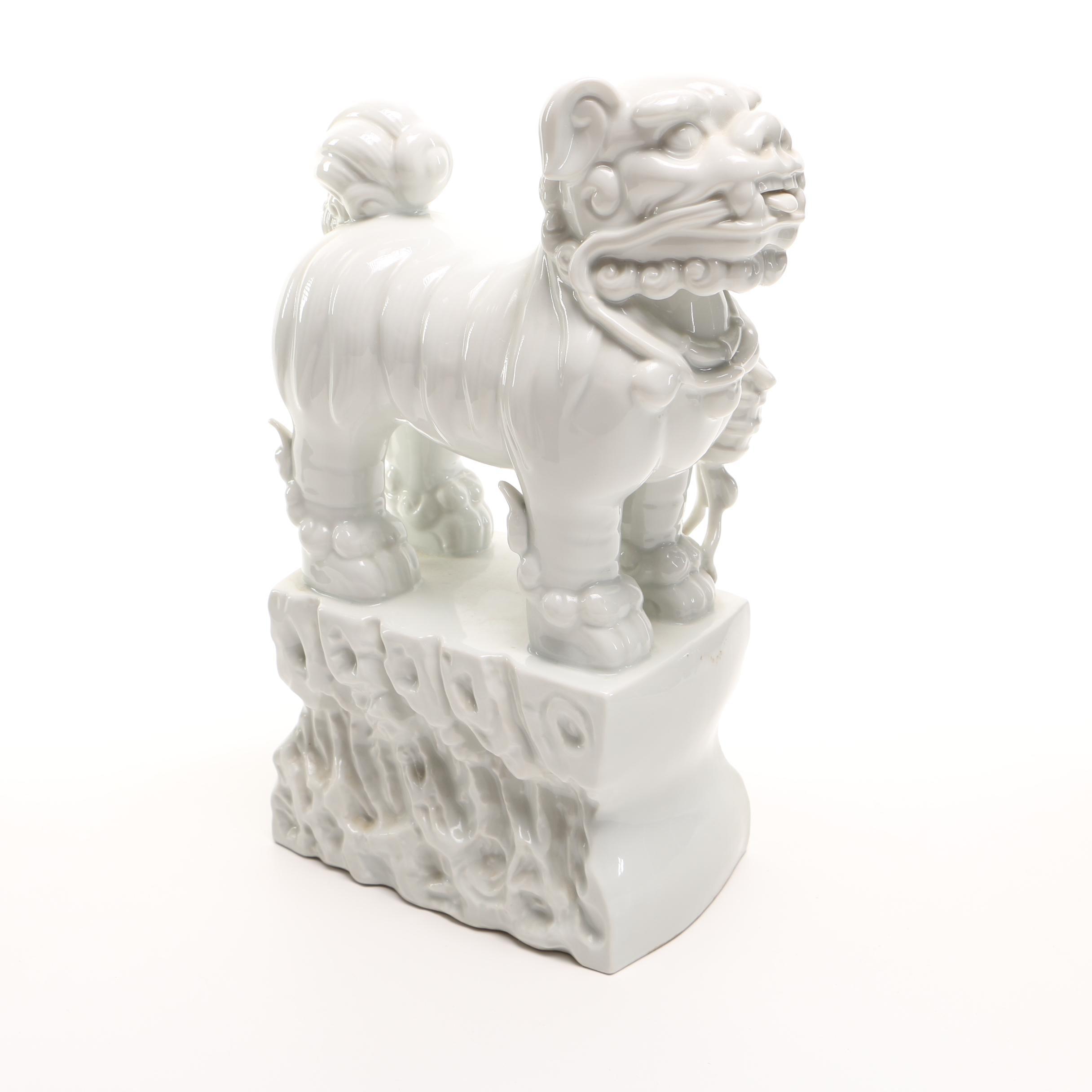 Blanc De Chine Porcelain Lion Figure