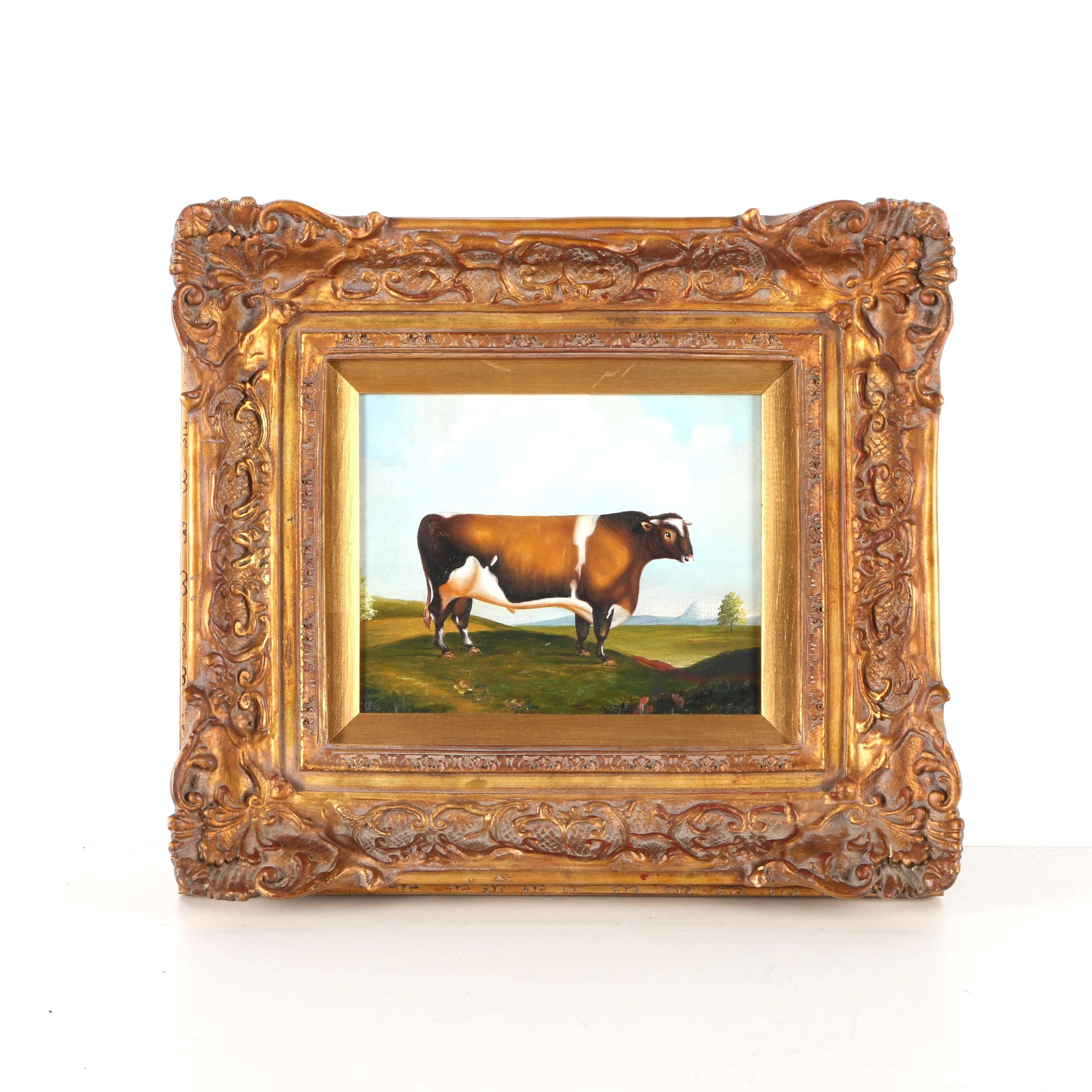 Oil on Canvas Painting of Cow in the Style of Van Webber