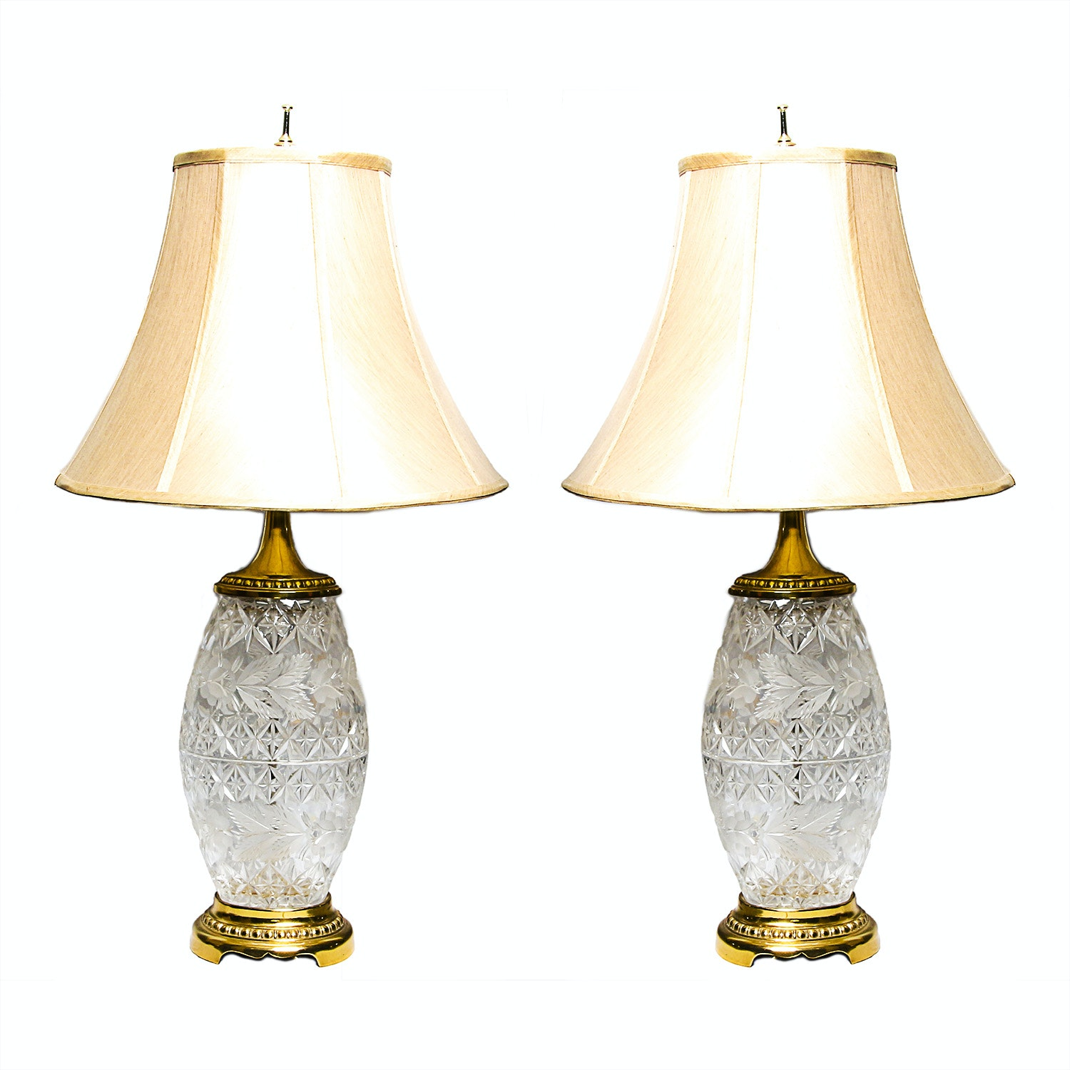 Pair of Cut Glass Table Lamps