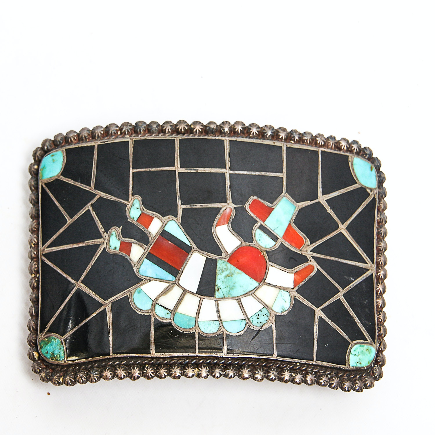 Sterling Buckle with Turquoise, Coral, Onyx and Shell Inlay