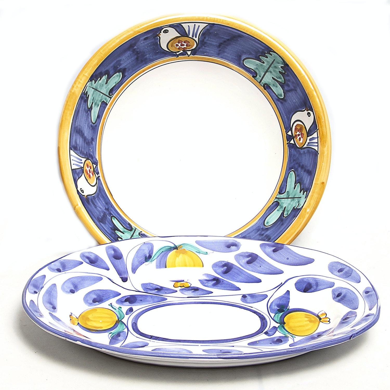 Pair of Hand-Painted Italian Ceramic Platters