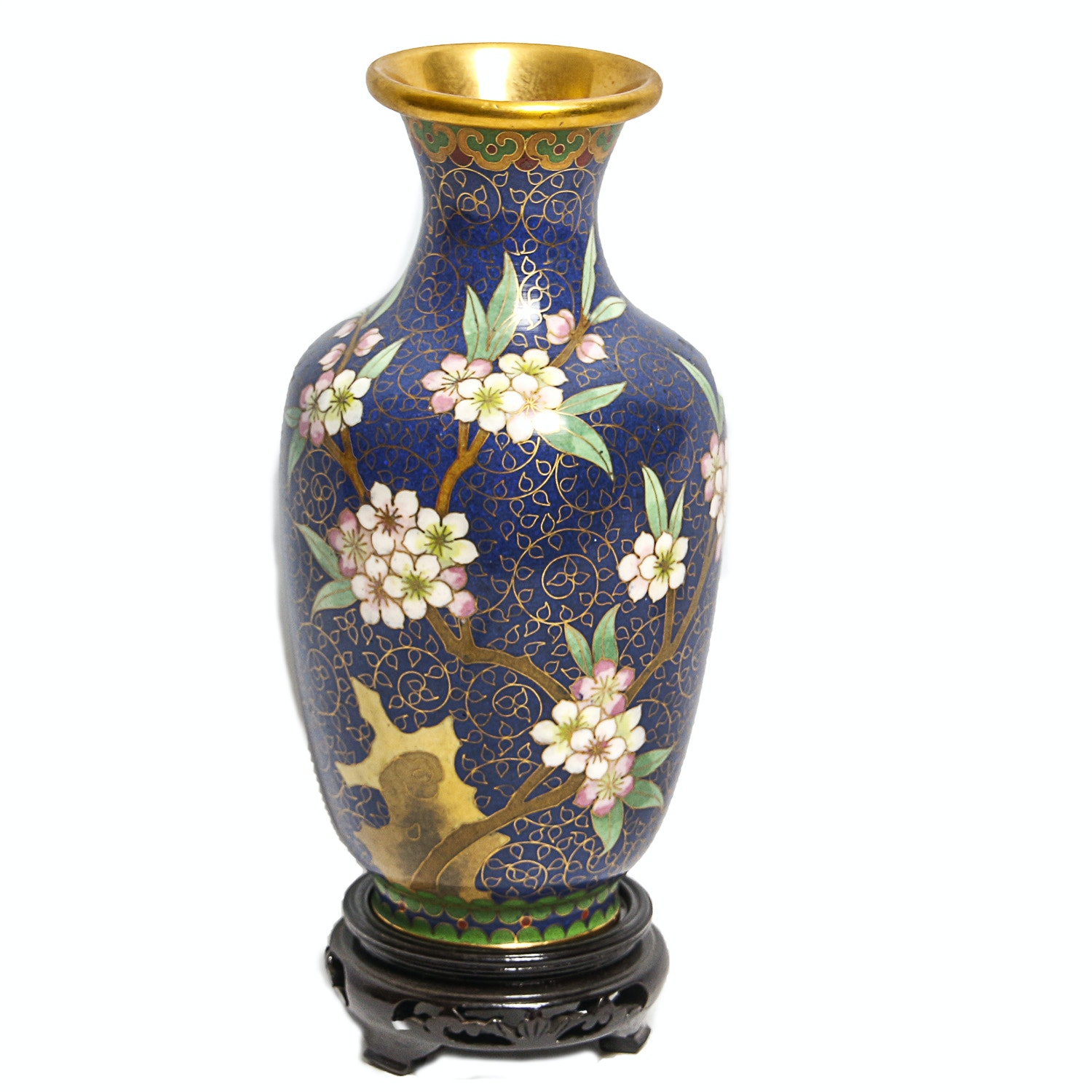 Cloisonné Vase with Cherry Blossoms and Wooden Stand