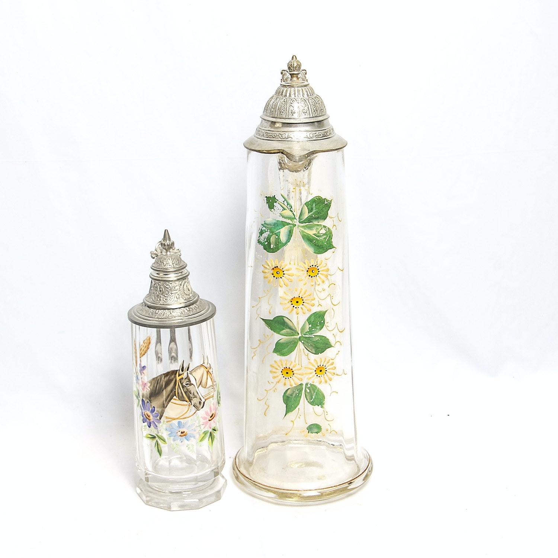Pair of Handpainted Vintage German Glass Steins