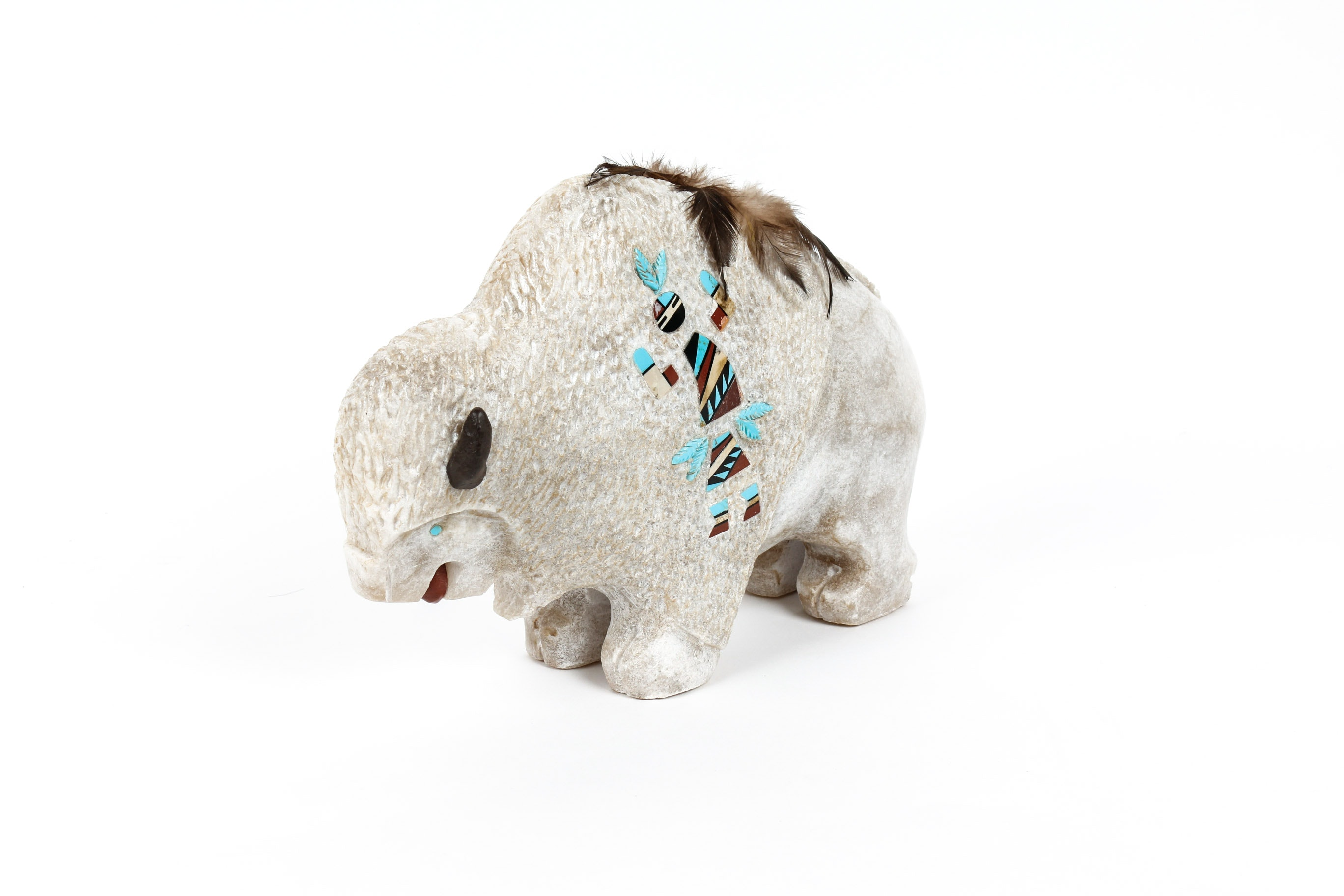 Native American Inspired Carved Marble Buffalo Fetish