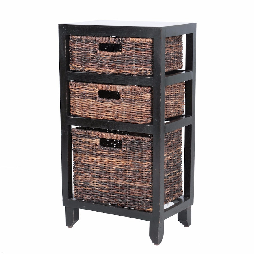 Contemporary Wooden Shelf With Wicker Baskets