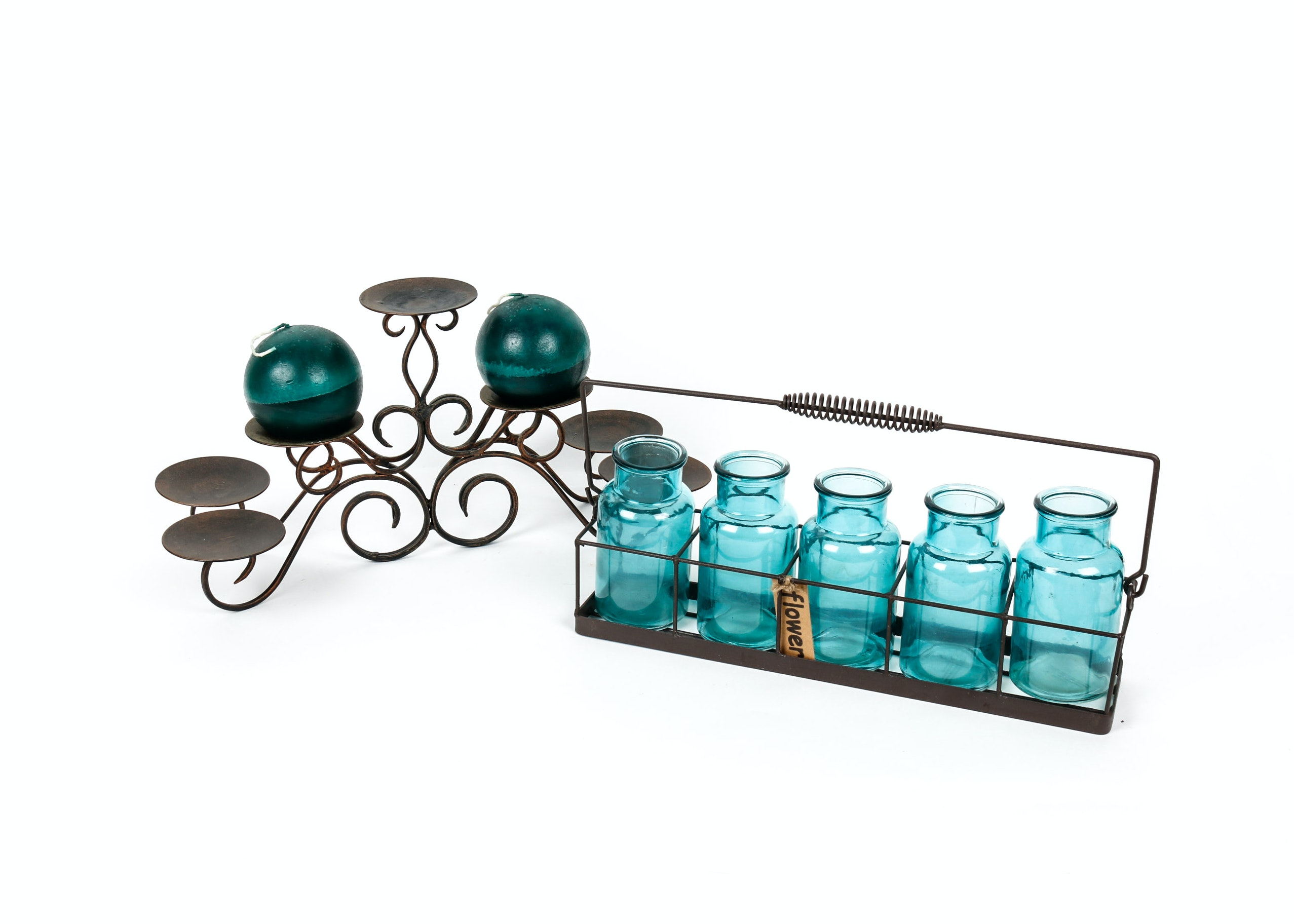 Collection of Turquoise Glass Decorative Bottles and Candle Holder