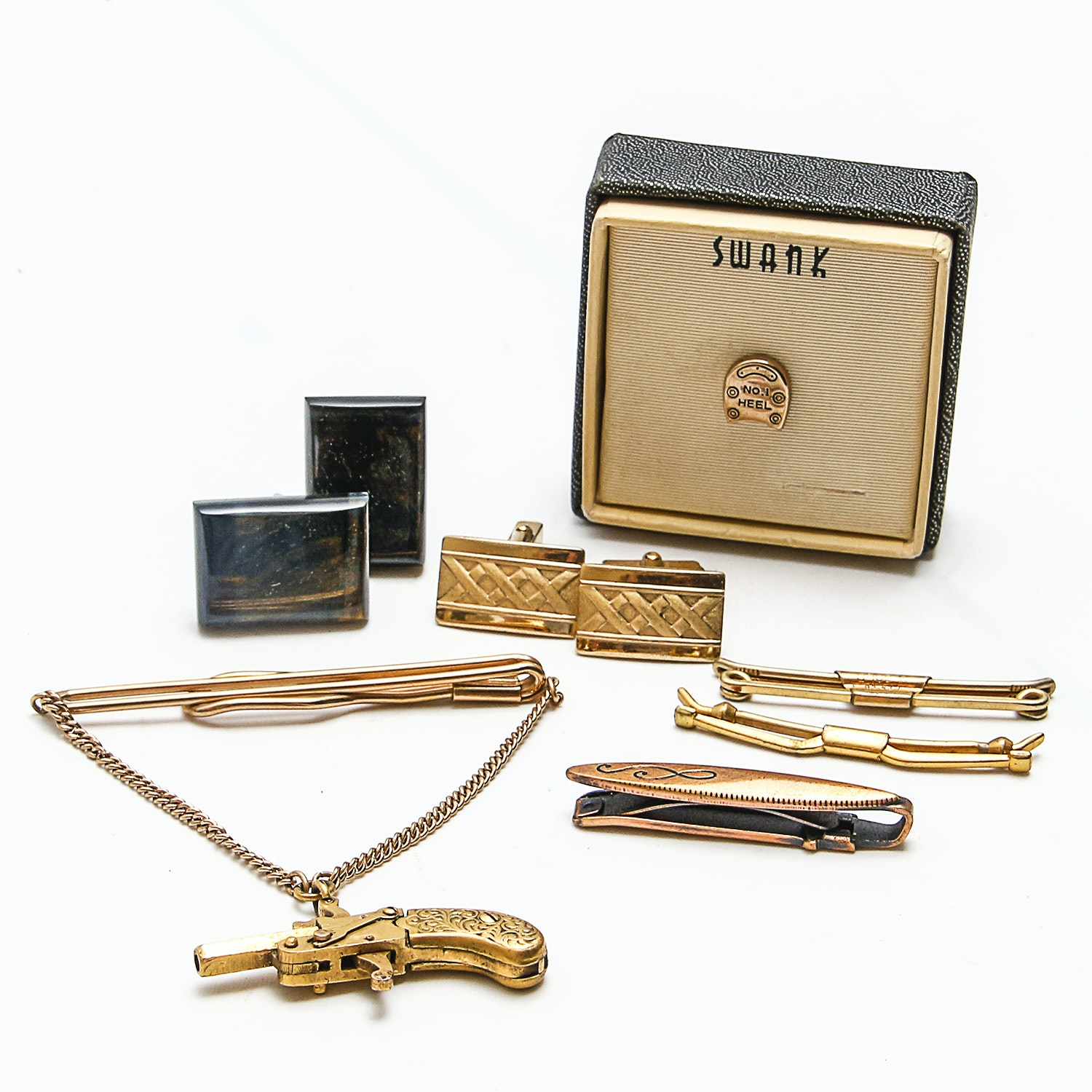 Collection of Vintage Cufflinks and Tie Clips Featuring Swank