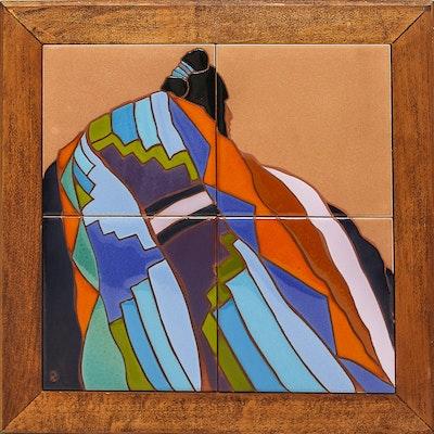 "Dolona Roberts Original Handpainted Tile Art ""Bright Blankets"""