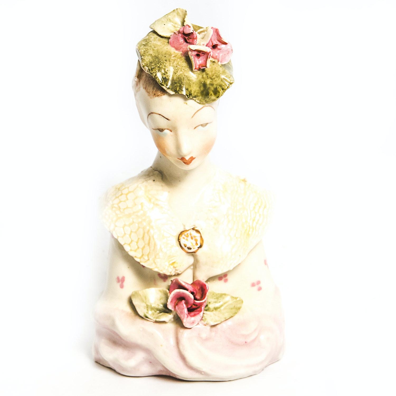 Vintage Handpainted Porcelain Bust of a Woman