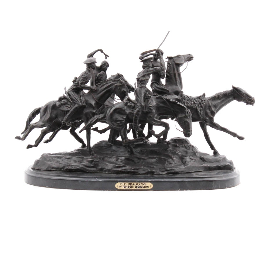 """Reproduction Bronze of Frederic Remington's """"Old Dragoons"""""""