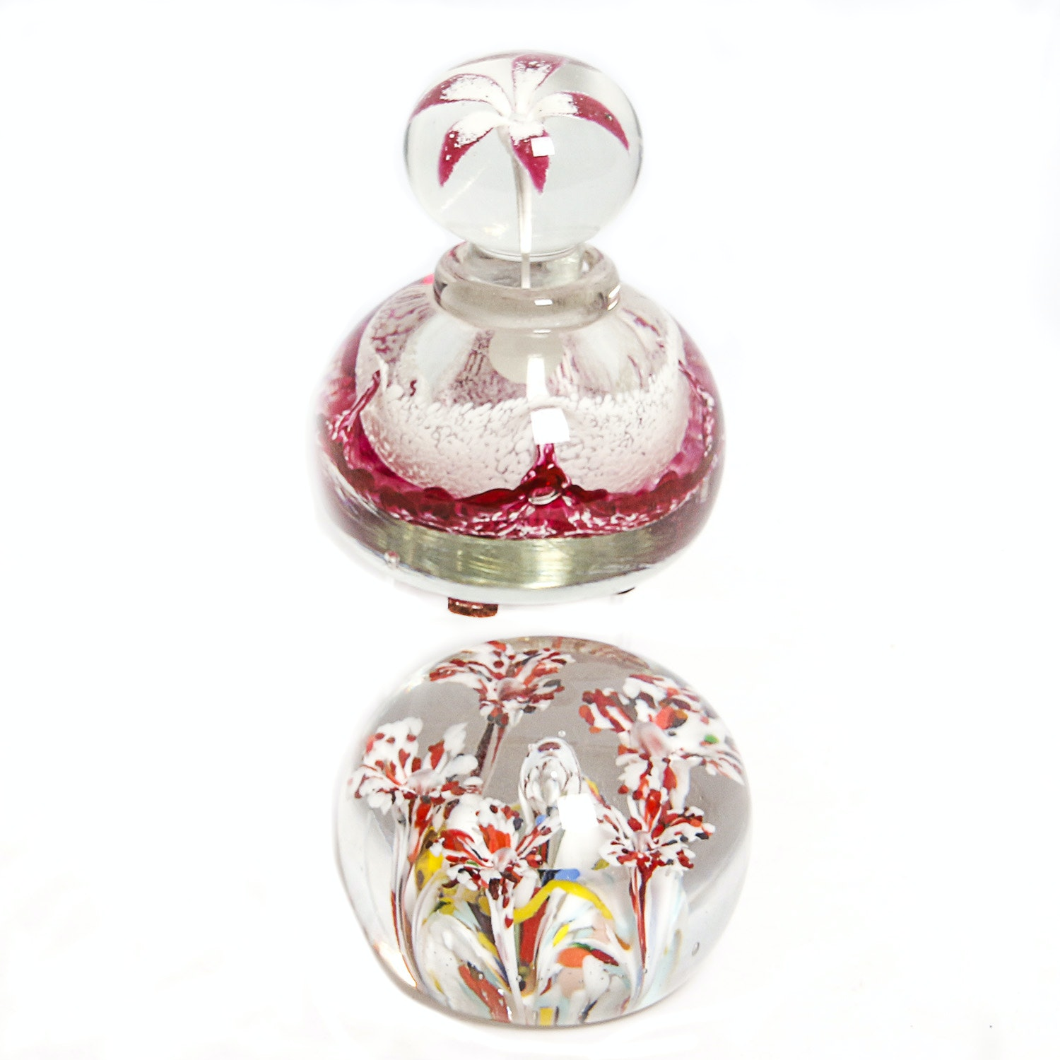 Art Glass Paperweight and Perfume Bottle