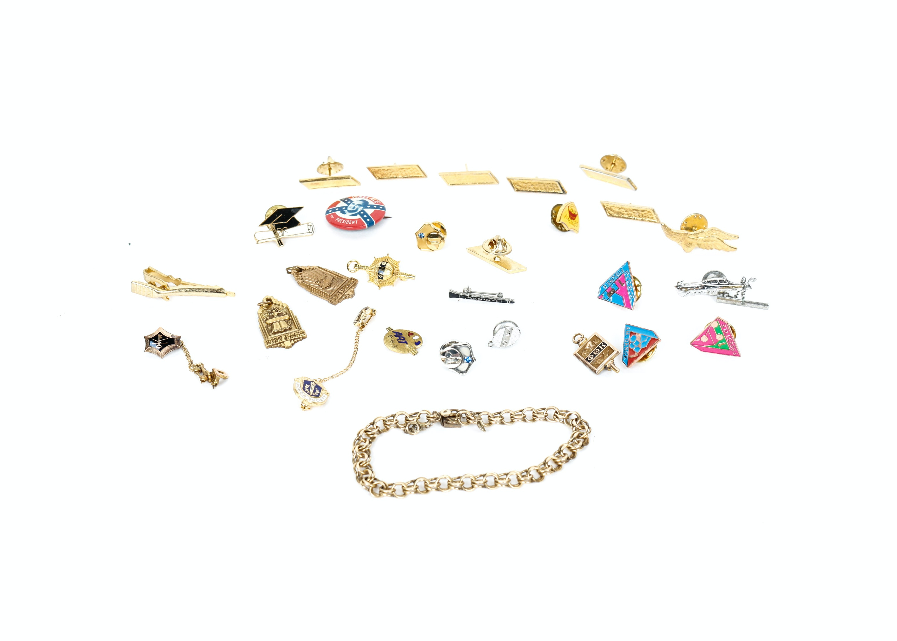 Collection of Pinbacks and Tie Clips including Gold-Filled Charm Bracelet