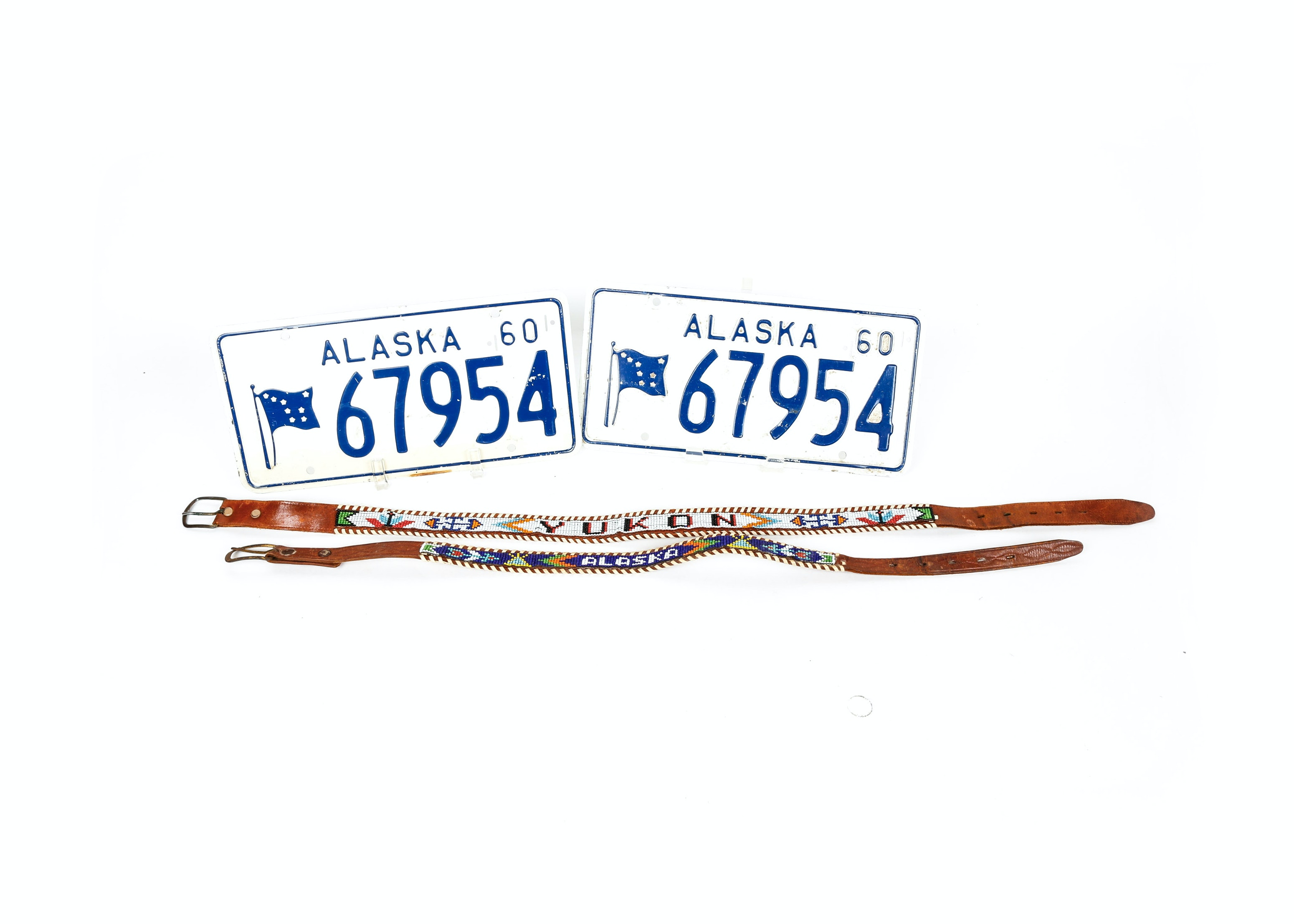 Vintage Alaskan License Plates and Beaded Leather Belts