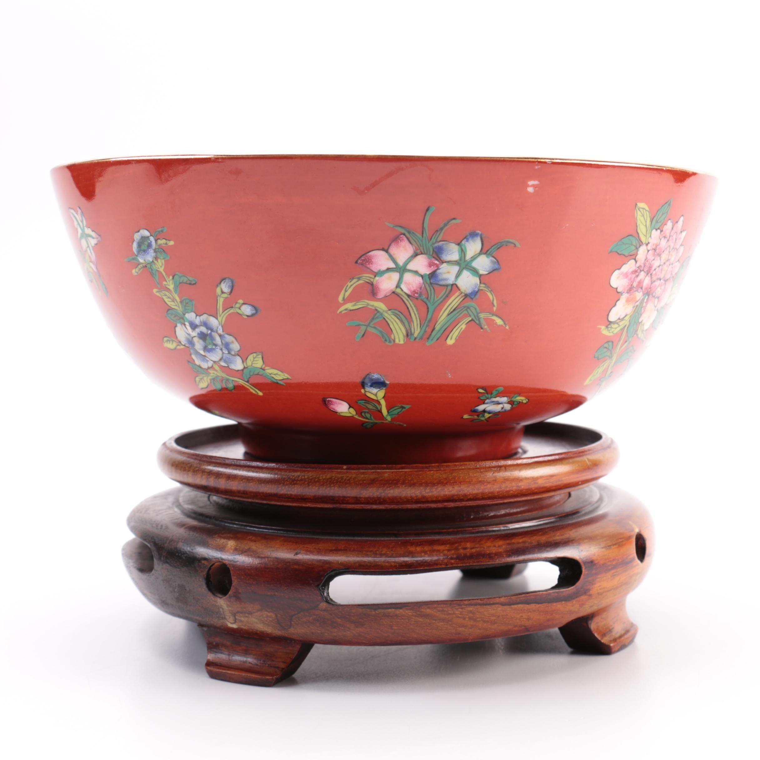 Red Ceramic Floral Bowl