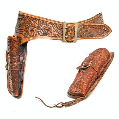 Leather Belt with Two Holsters