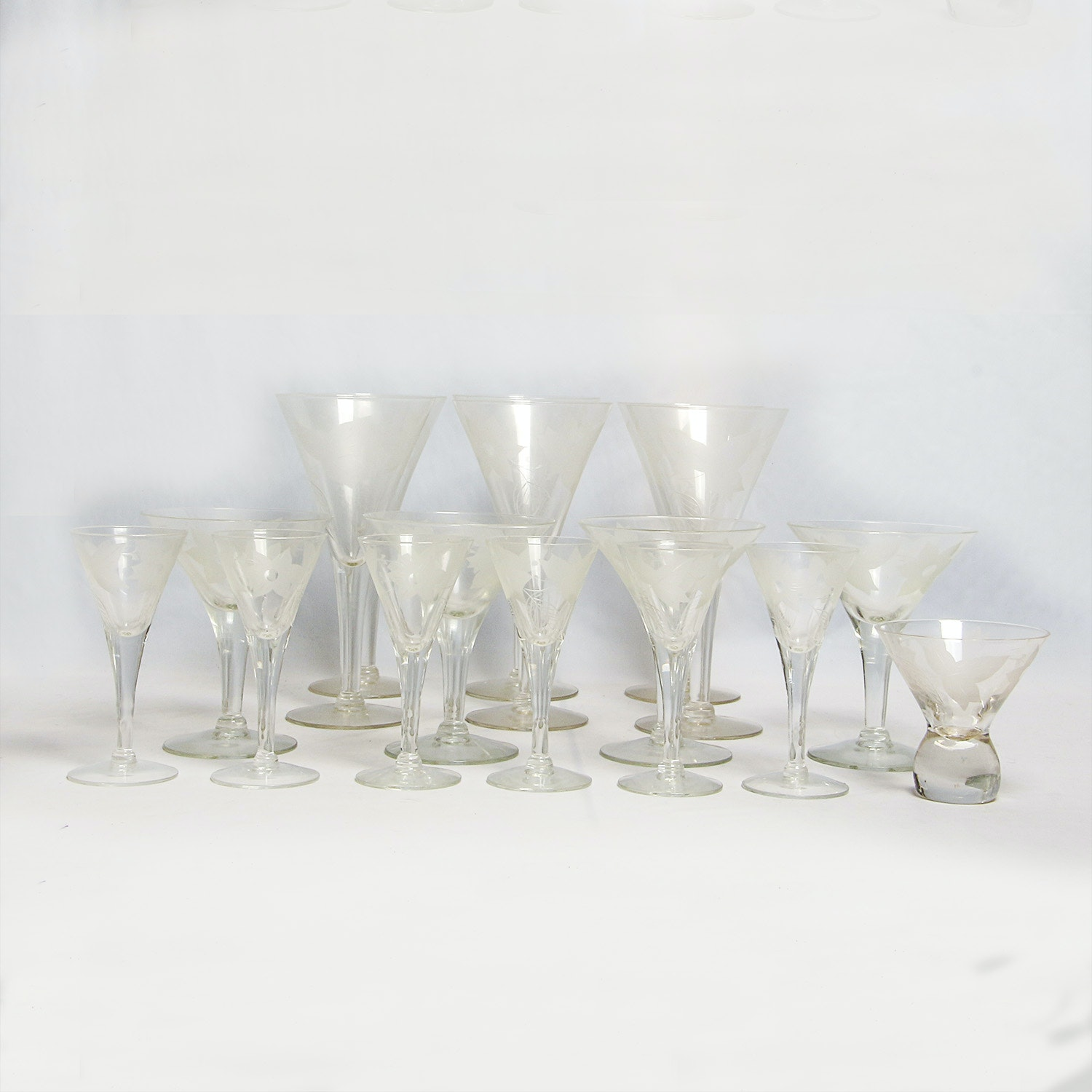 Collection of Vintage Etched Glass Stemware