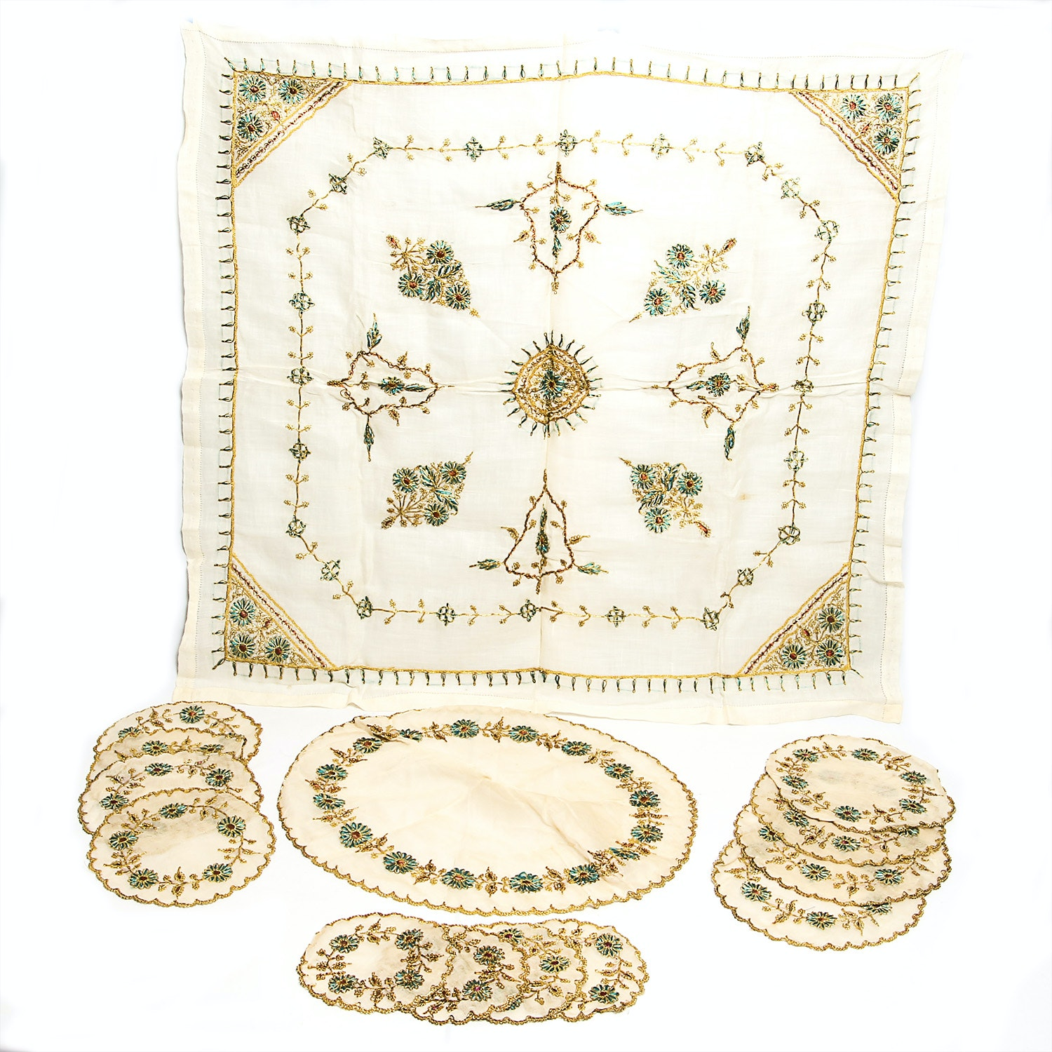 Vintage Gold, Rust and Green Embroidered Table Linens