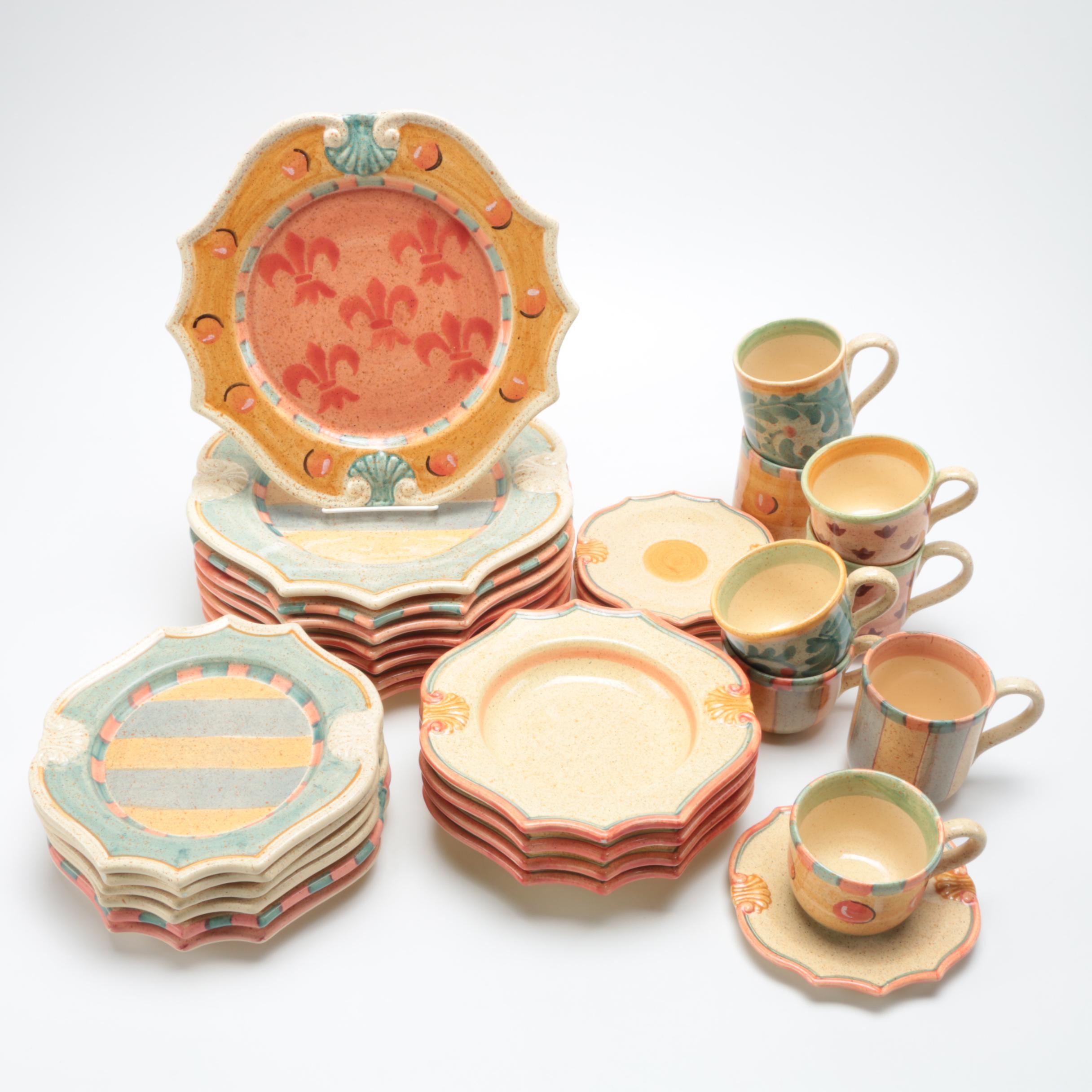 Horchow Hand Painted Italian Ceramic Tableware Set ... & Horchow Hand Painted Italian Ceramic Tableware Set : EBTH