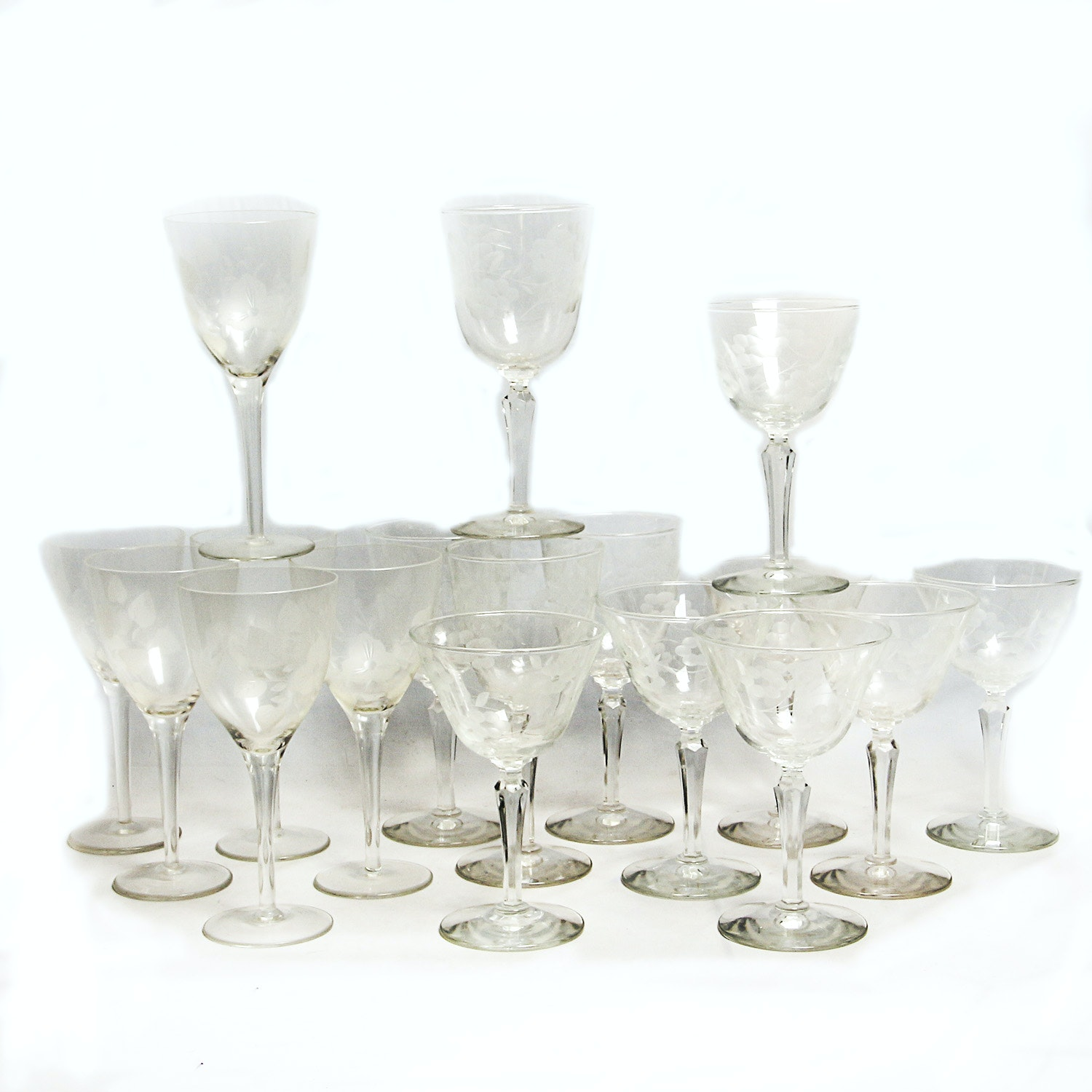 Collection of Etched Floral Stemware