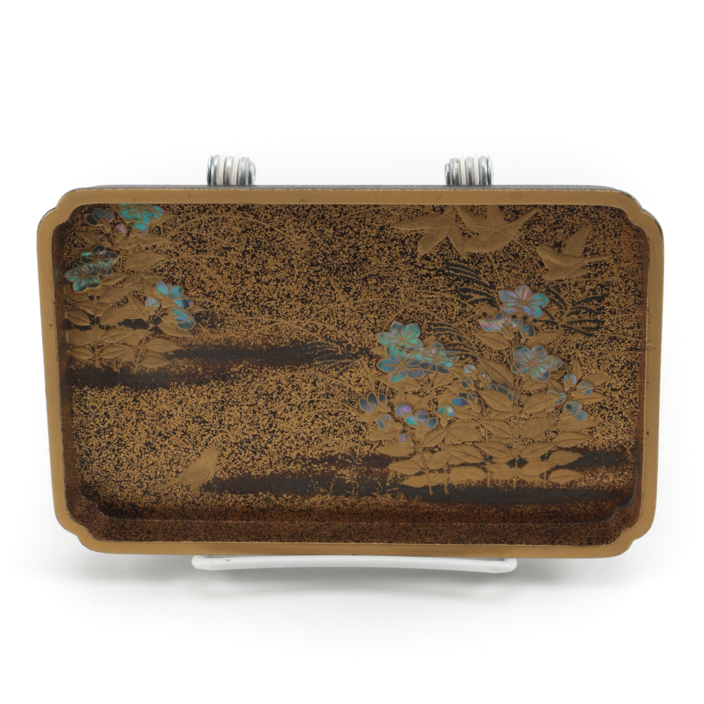 Japanese Lacquer Tray With Mother of Pearl Inlay