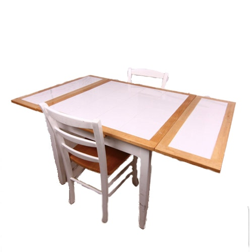 Tile and Maple Wood Kitchen Table with Chairs