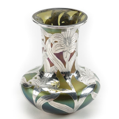 Art Nouveau Favrile Glass Bud Vase with Sterling Silver Overlay