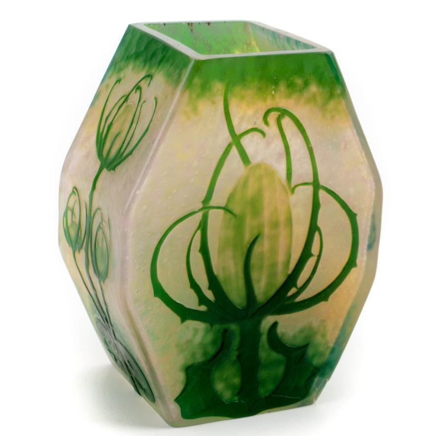 """Circa 1900 Signed """"Daum Nancy"""" Art Nouveau Cameo Glass Vase"""