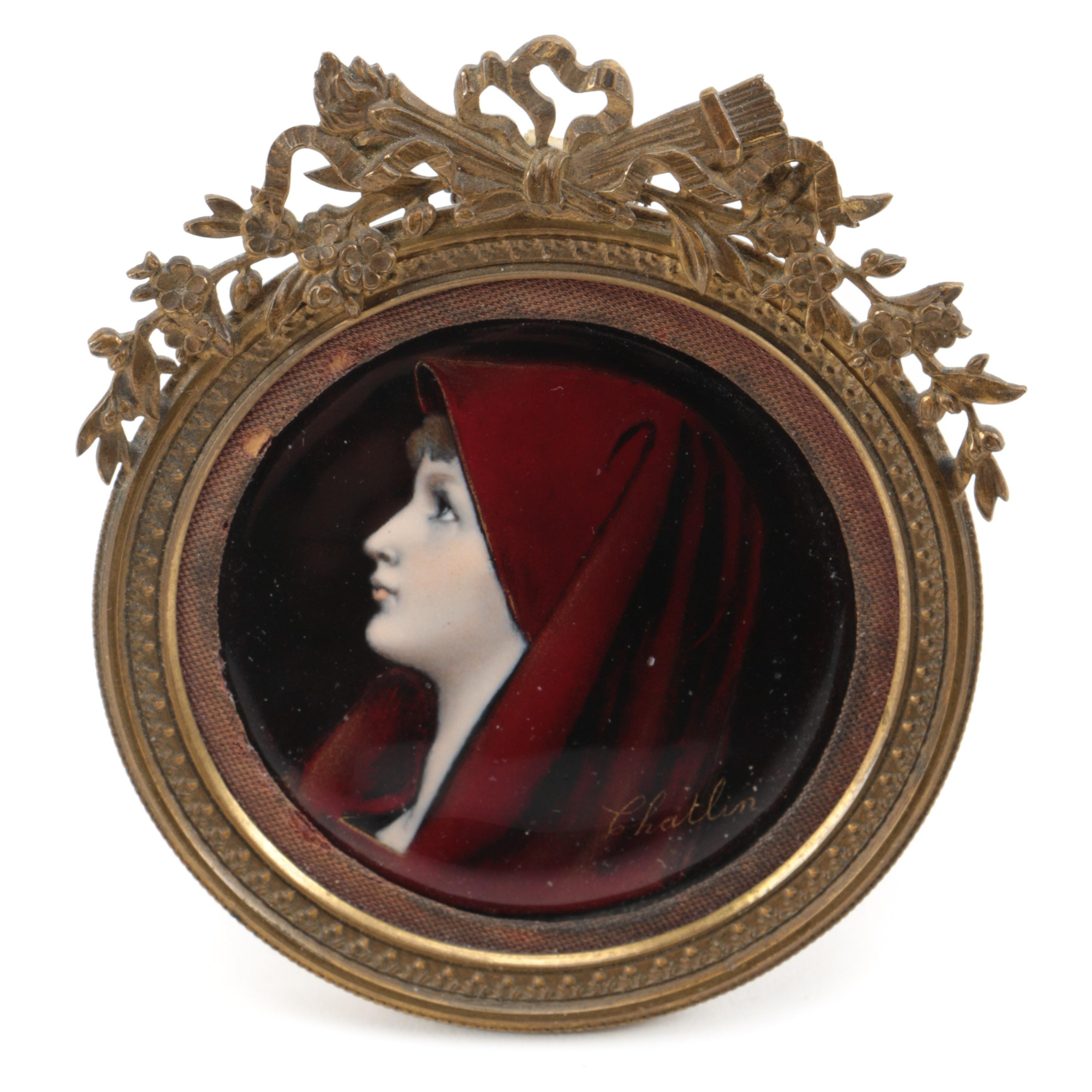 "Antique Limoges Foiled Enamel Portrait, Signed ""Chatlin"""