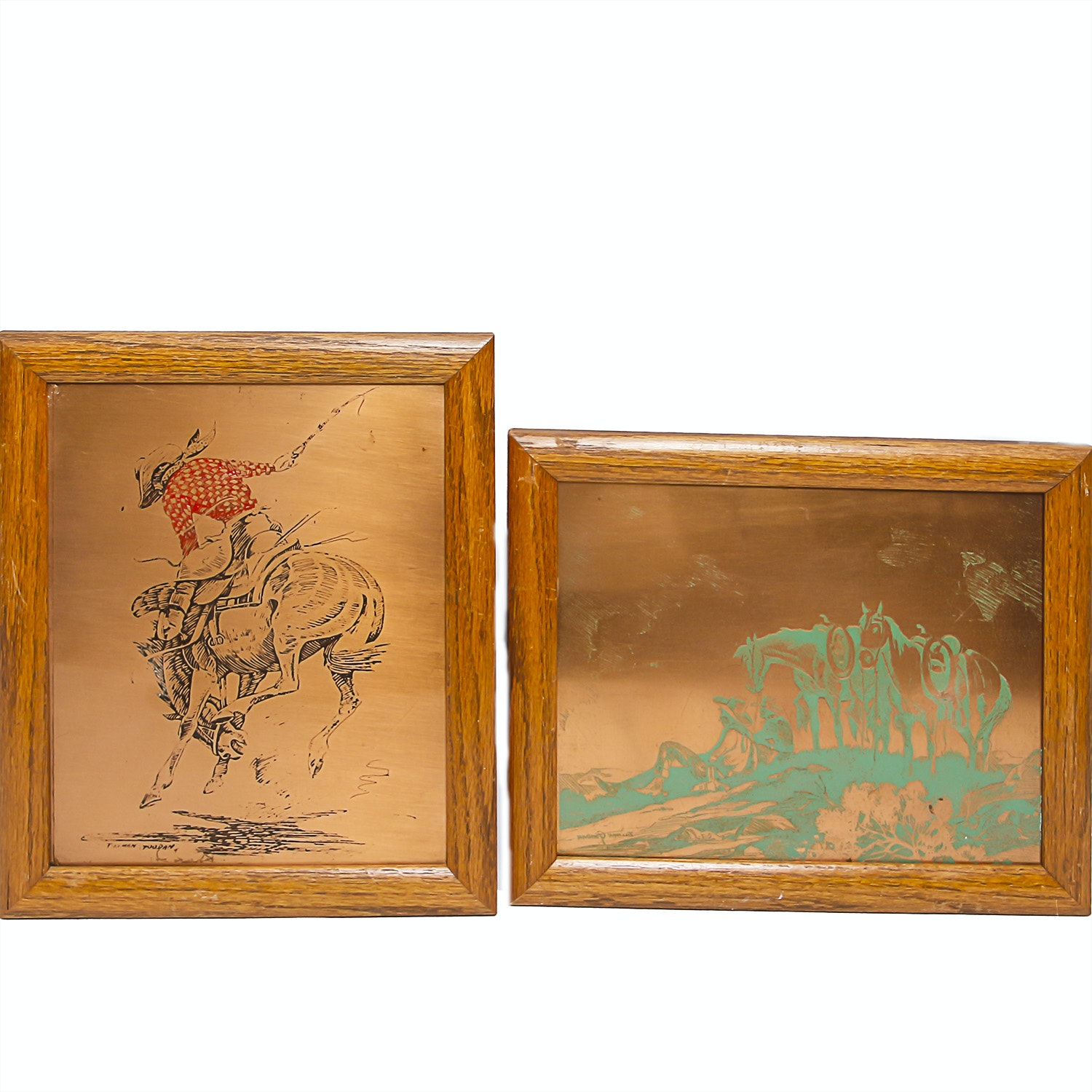 Pair of Tillman Goodan Framed Etched and Printed Copper Plates