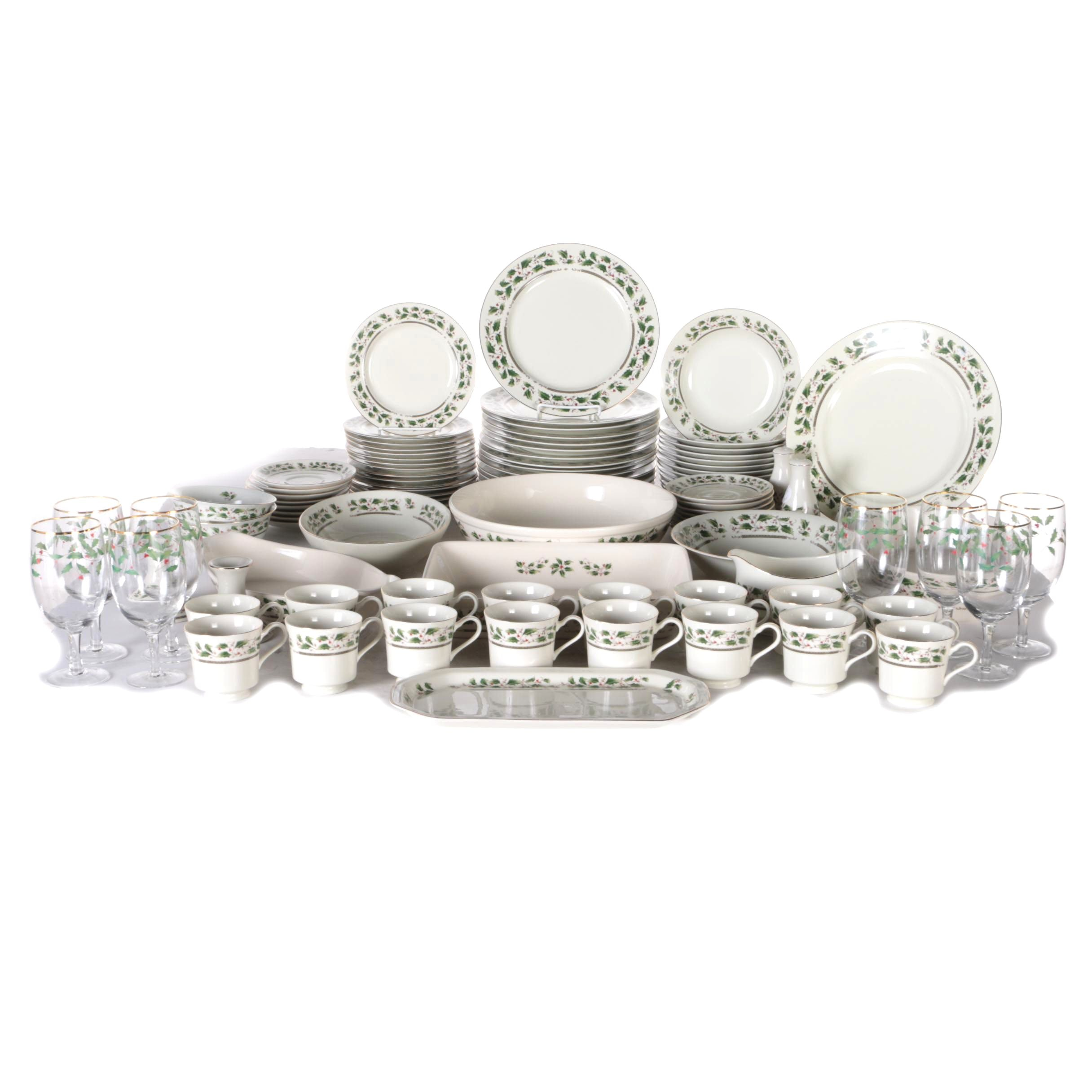Generous Set of Royal Limited  Holly Holiday  China and Glassware ...  sc 1 st  EBTH.com & Generous Set of Royal Limited