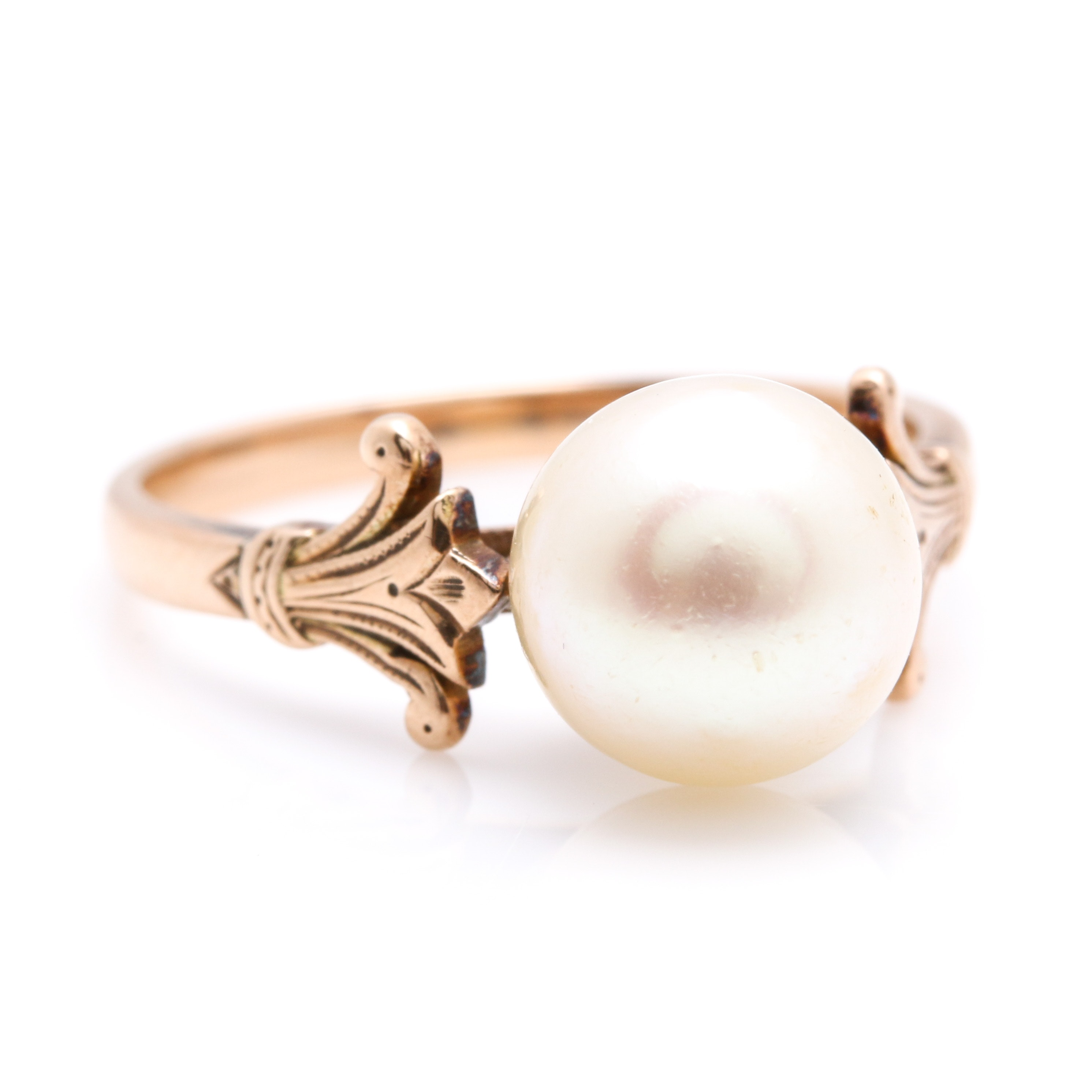 14K Yellow Gold Cultured Pearl Solitaire Ring
