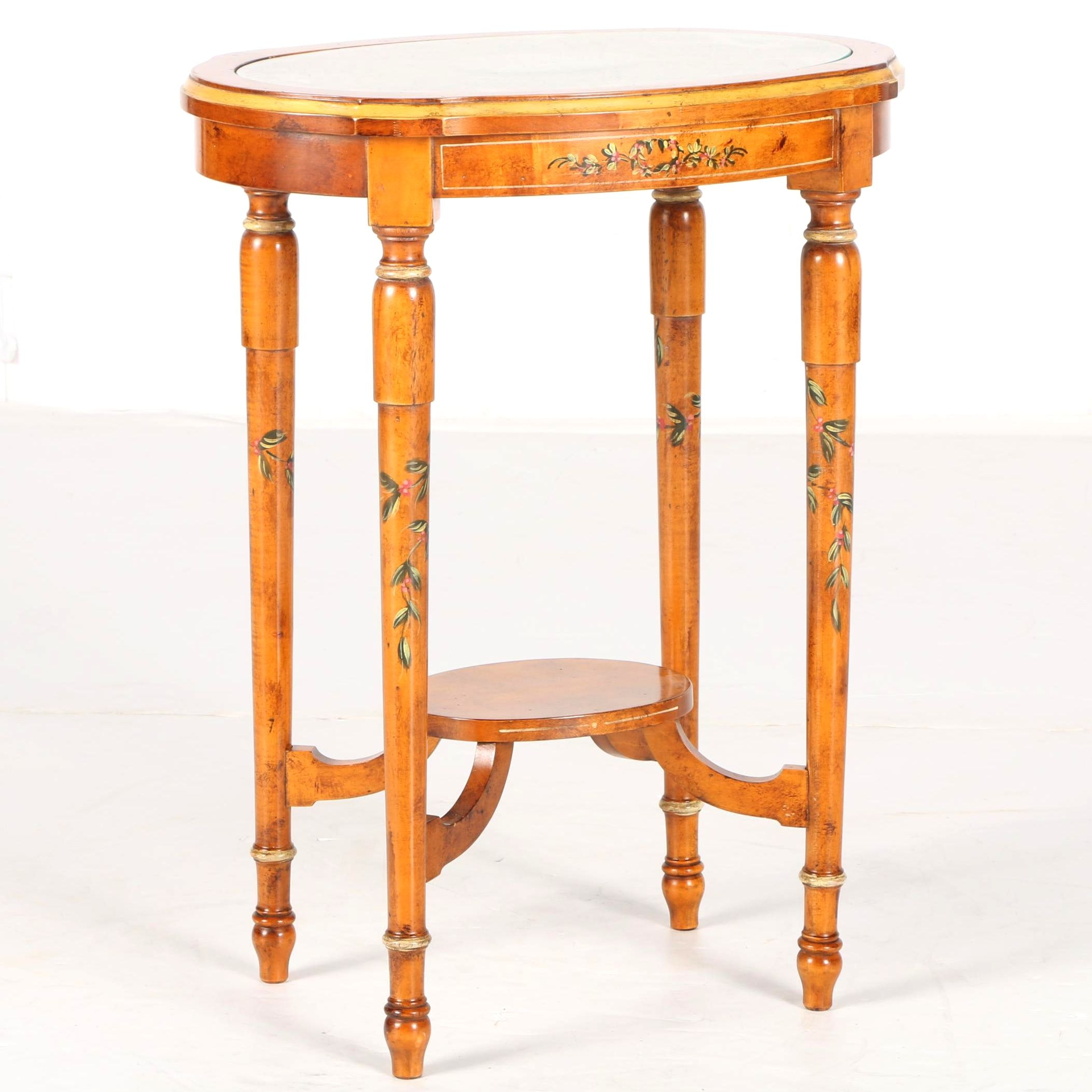 Louis XVI Inspired Glass Top Accent Table