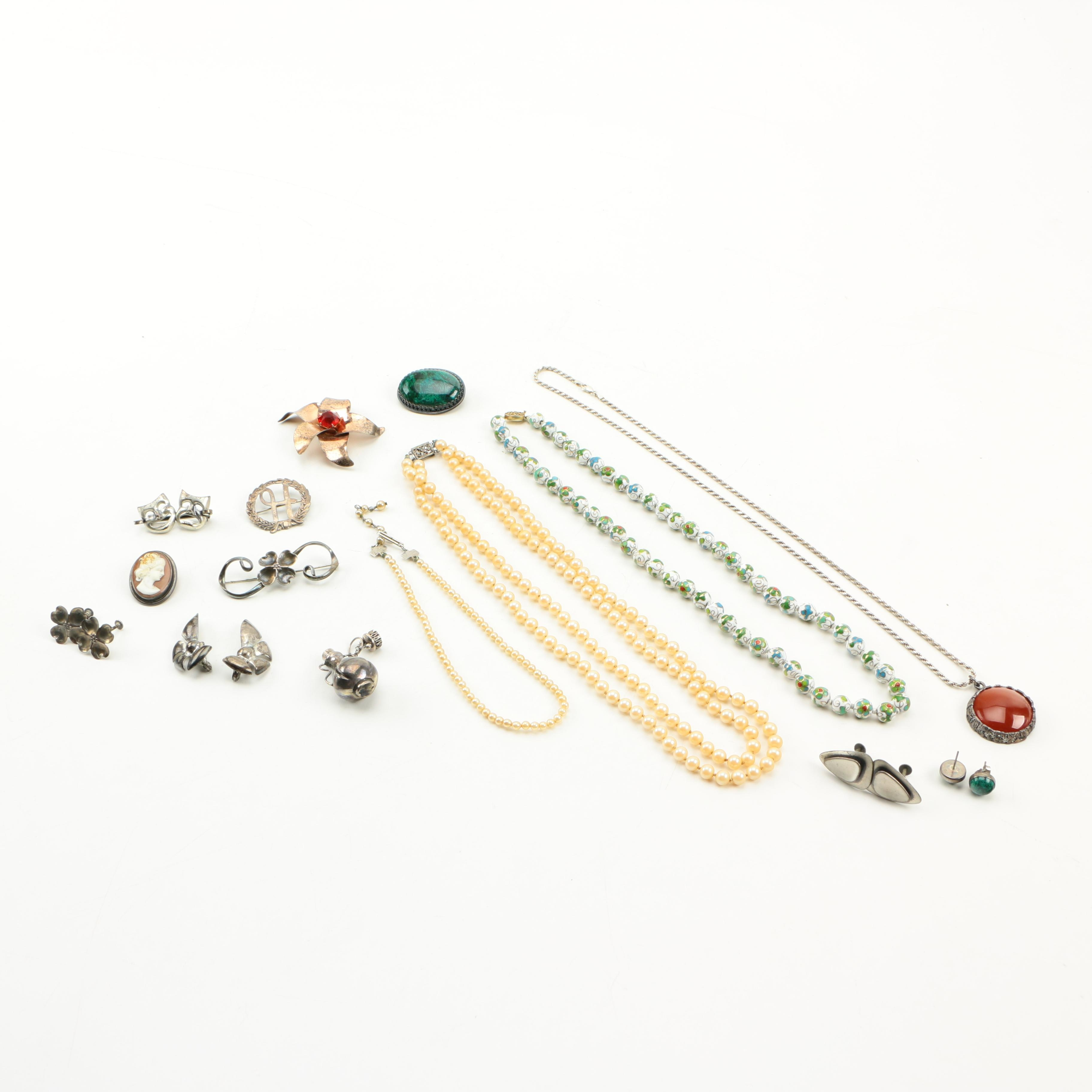 Sterling Silver Jewelry Including a Sterling by Jordan Brooch