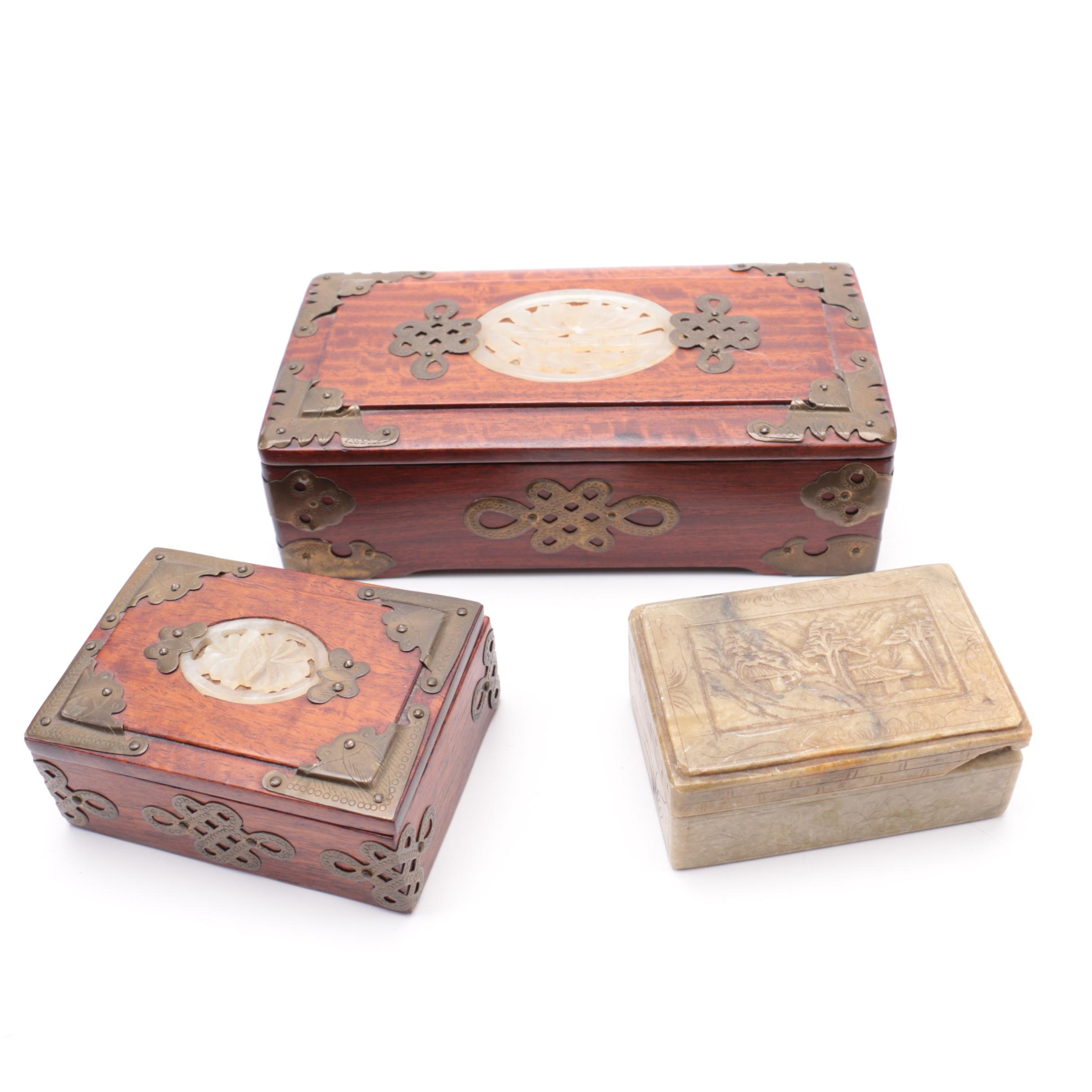 Two Wood and Bowenite and One Soap Stone Trinket Boxes