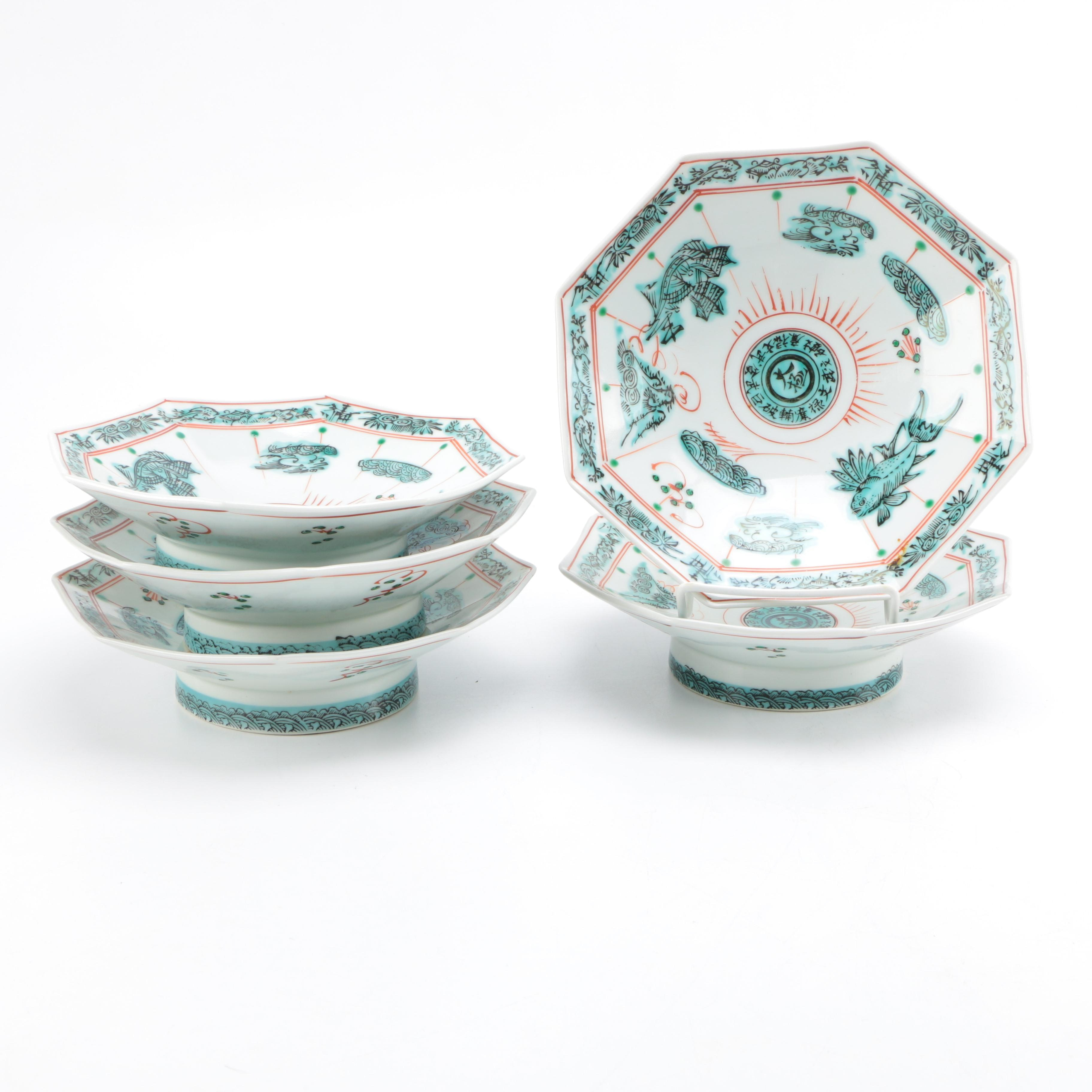 Set of Chinese Hand Painted Octagonal Bowls