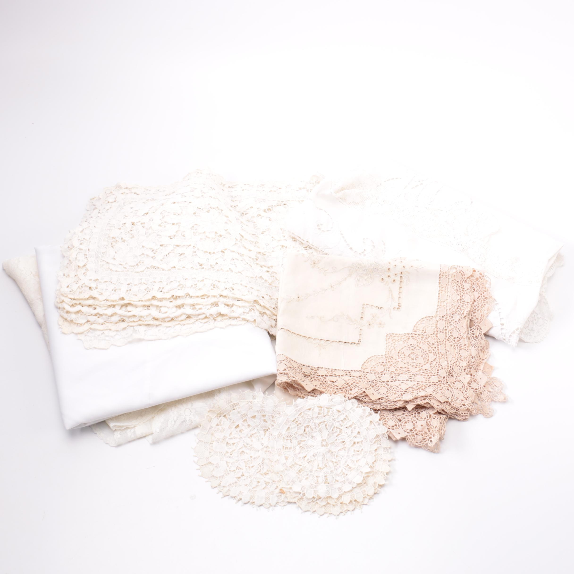 Lace and Embroidered Table Linens