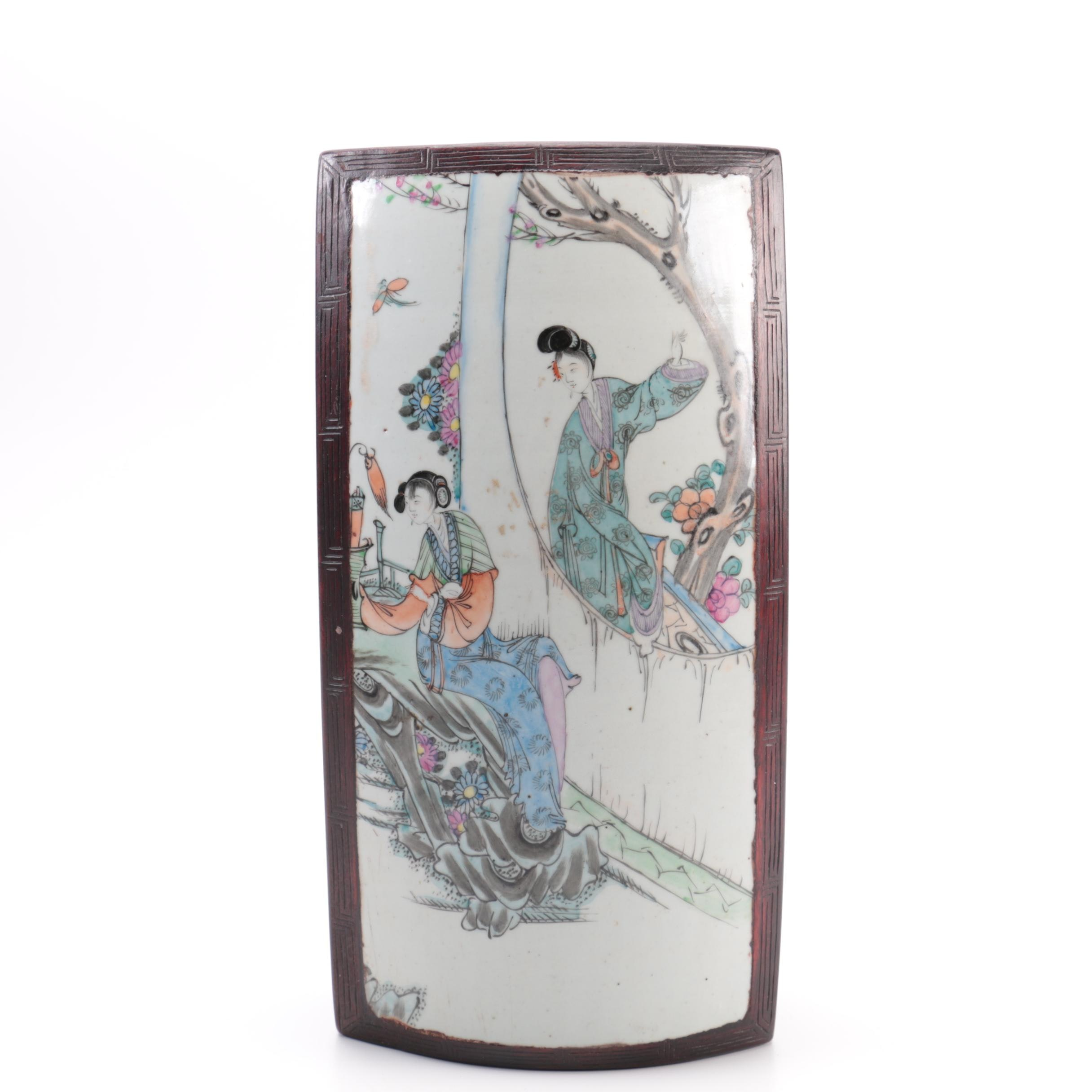 Chinese Wooden Trinket Box with Hand Painted Porcelain Inlay