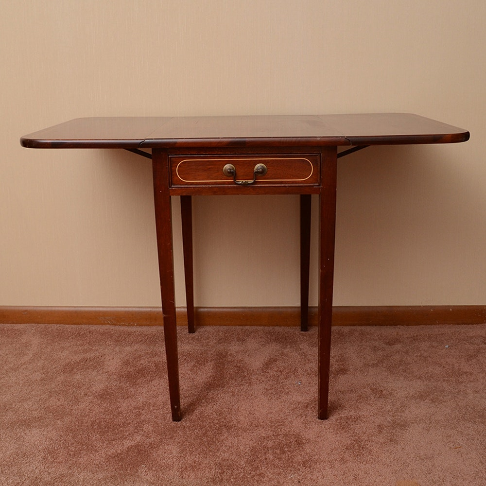 Hepplewhite Style Mahogany Drop Leaf Table By Brandt