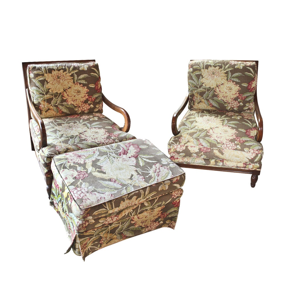 Pair Of Aftonwood Armchairs By Miles Talbott With Hassock ...
