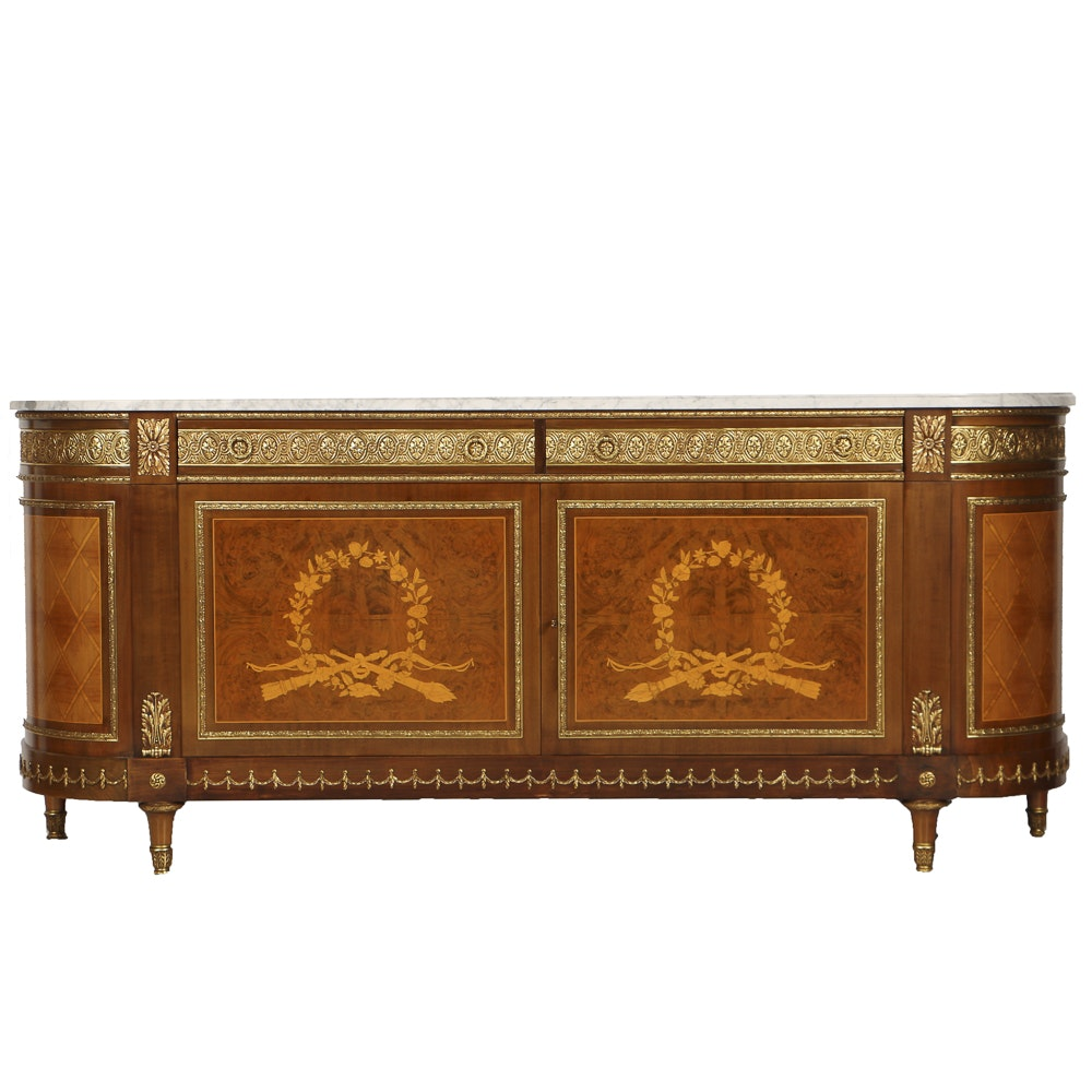 20th-Century Louis XVI Style Credenza with Satinwood Inlay Veneer