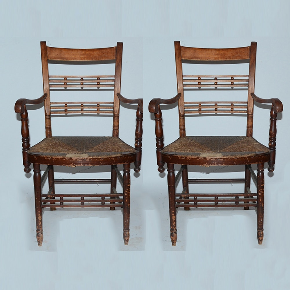 "Antique ""Cheesebox"" Rush Seat Chairs Including Rocker"