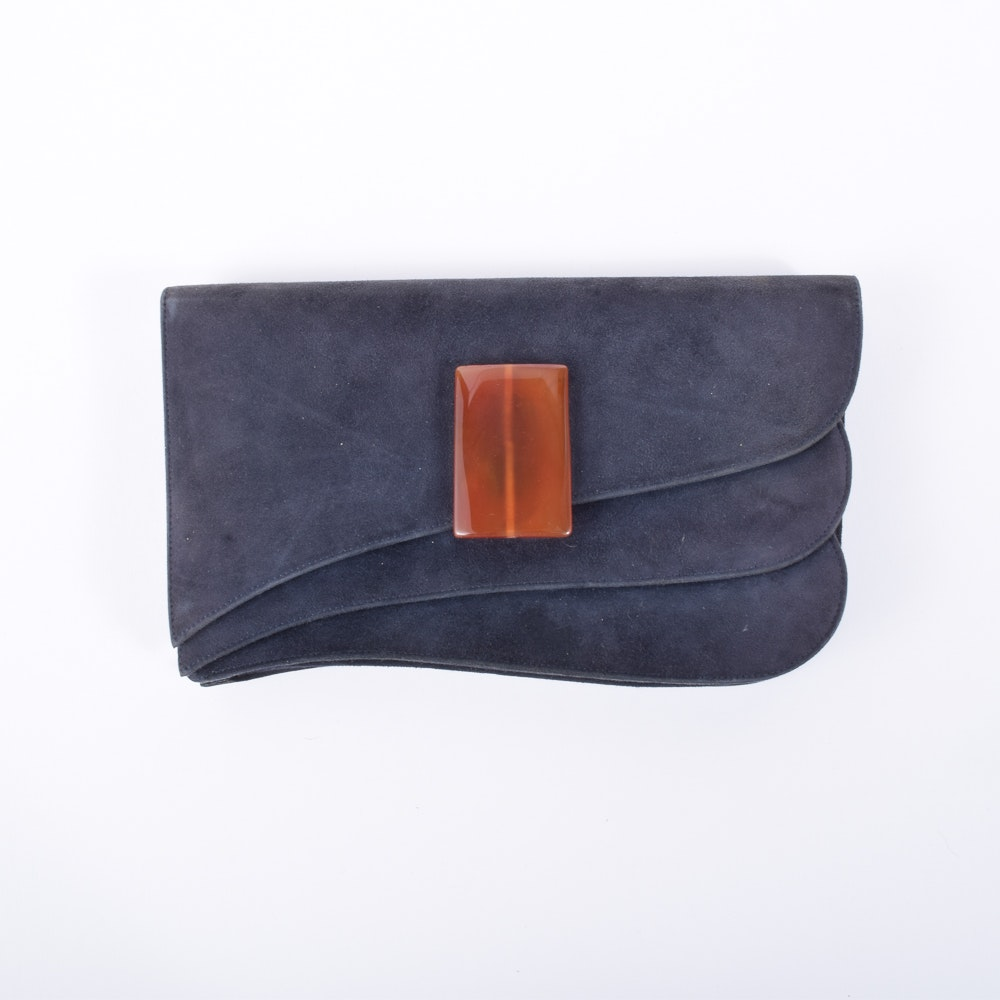 Vintage Charles Jourdan Suede Clutch with Amber Glass Embellishment