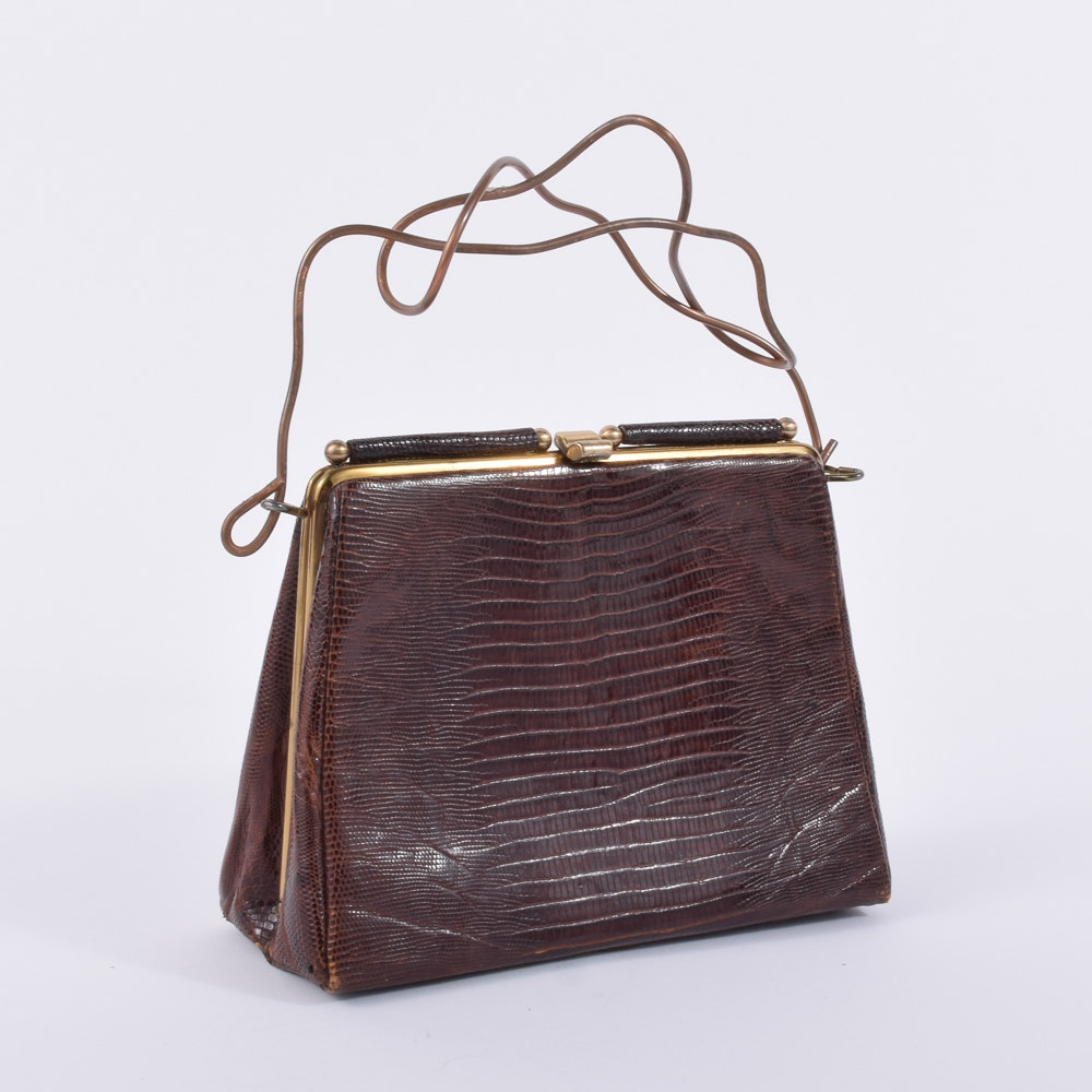 Pam McMahon Lizard Skin Patterned Handbag with Sculpted Copper Handle