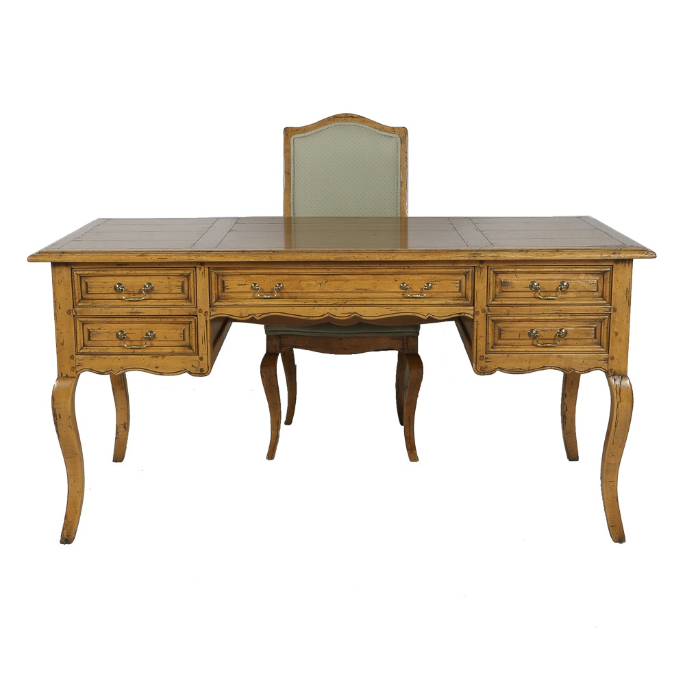 Country French Provincial Desk With Chair