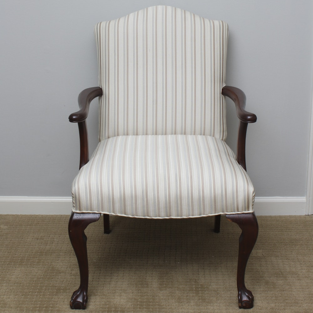 Vintage Queen Anne Style Upholstered Accent Chair ...