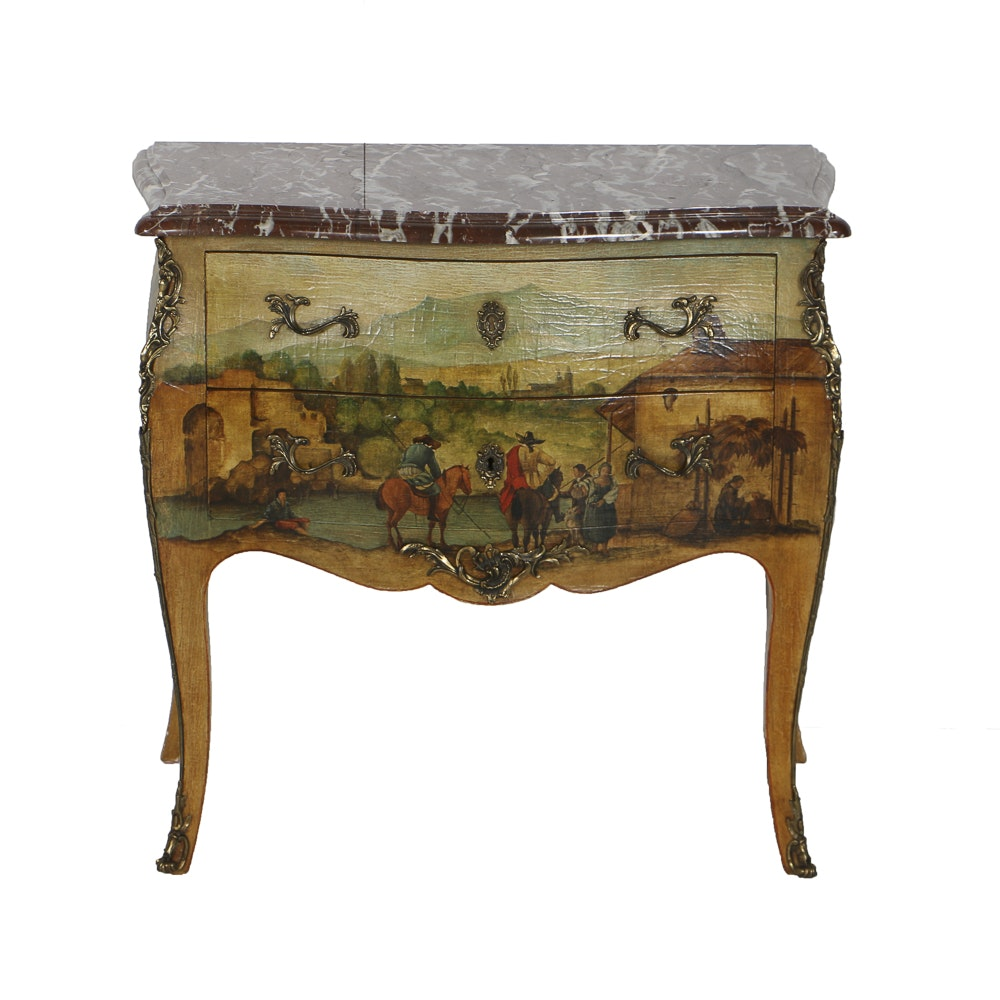 Louis XV Style Paint-Decorated Commode With Marble Top