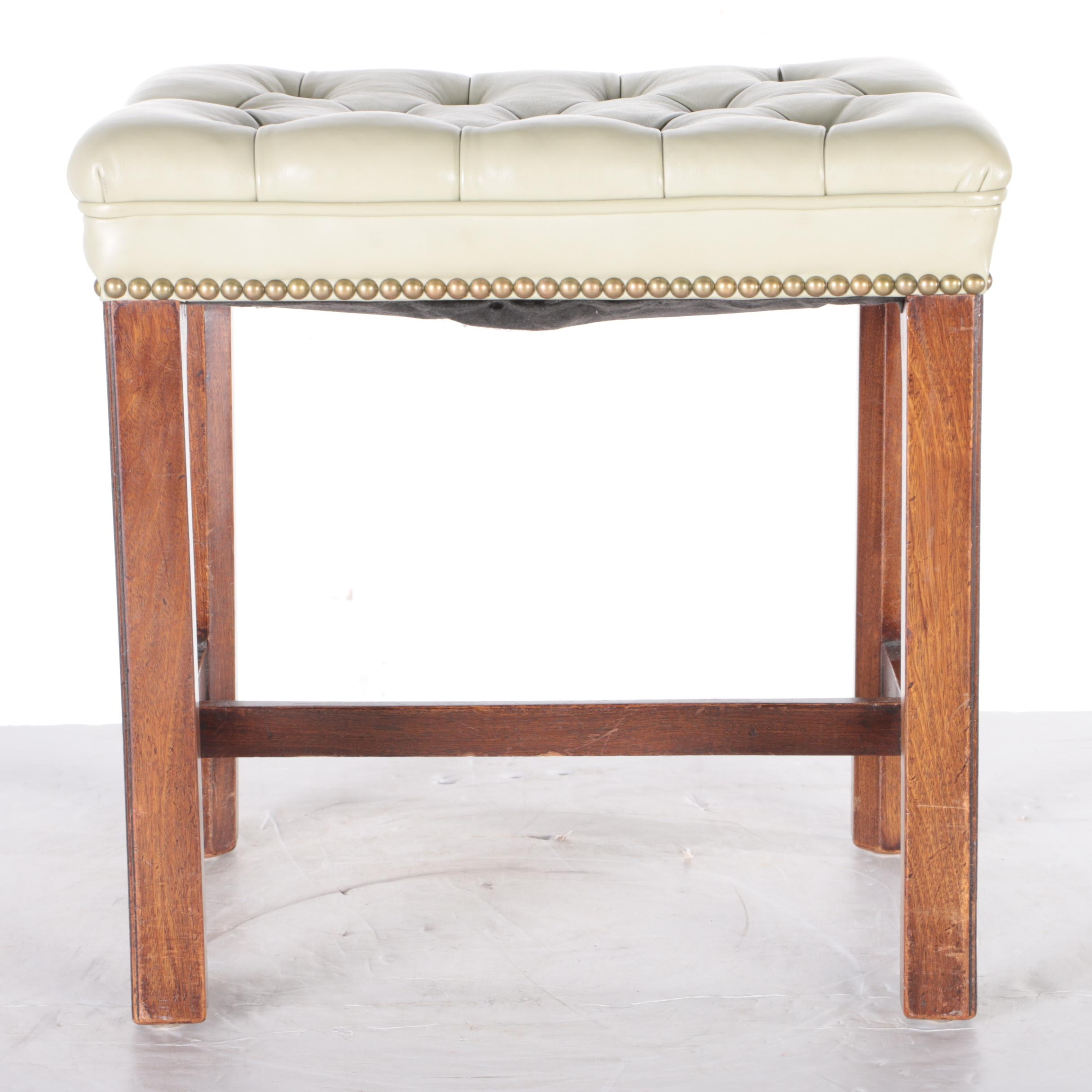 Button-Tufted Leather Stool