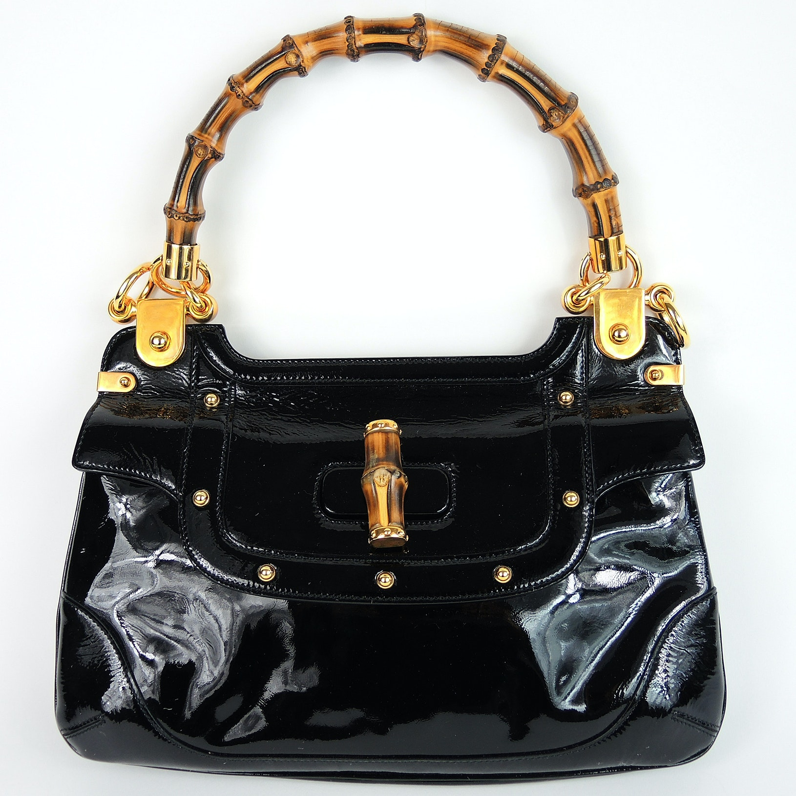 Gucci Black Leather Purse with Bamboo-Style Handle